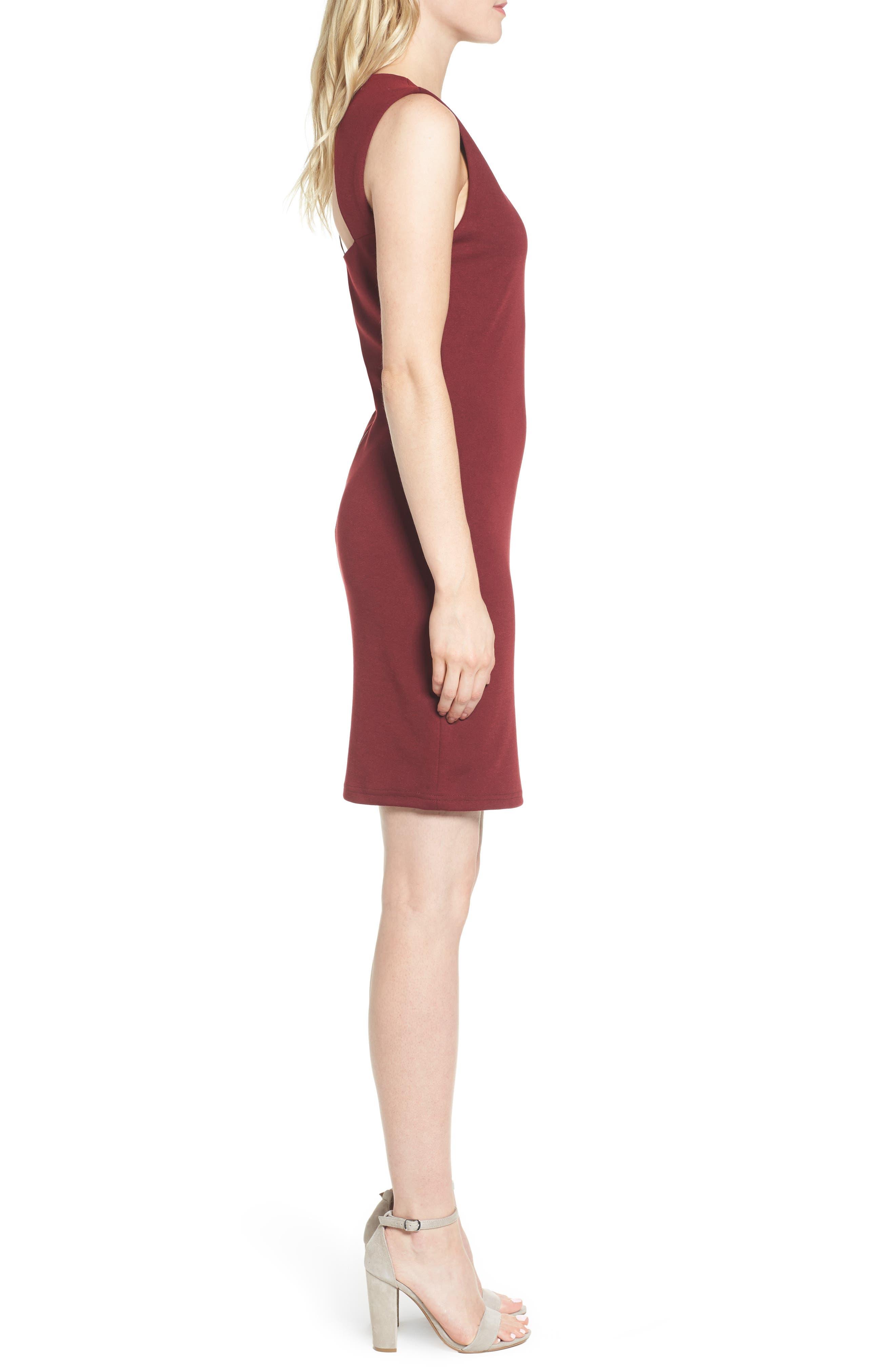 Bishop + Young Ponte Knit Sheath Dress,                             Alternate thumbnail 3, color,                             Burgundy