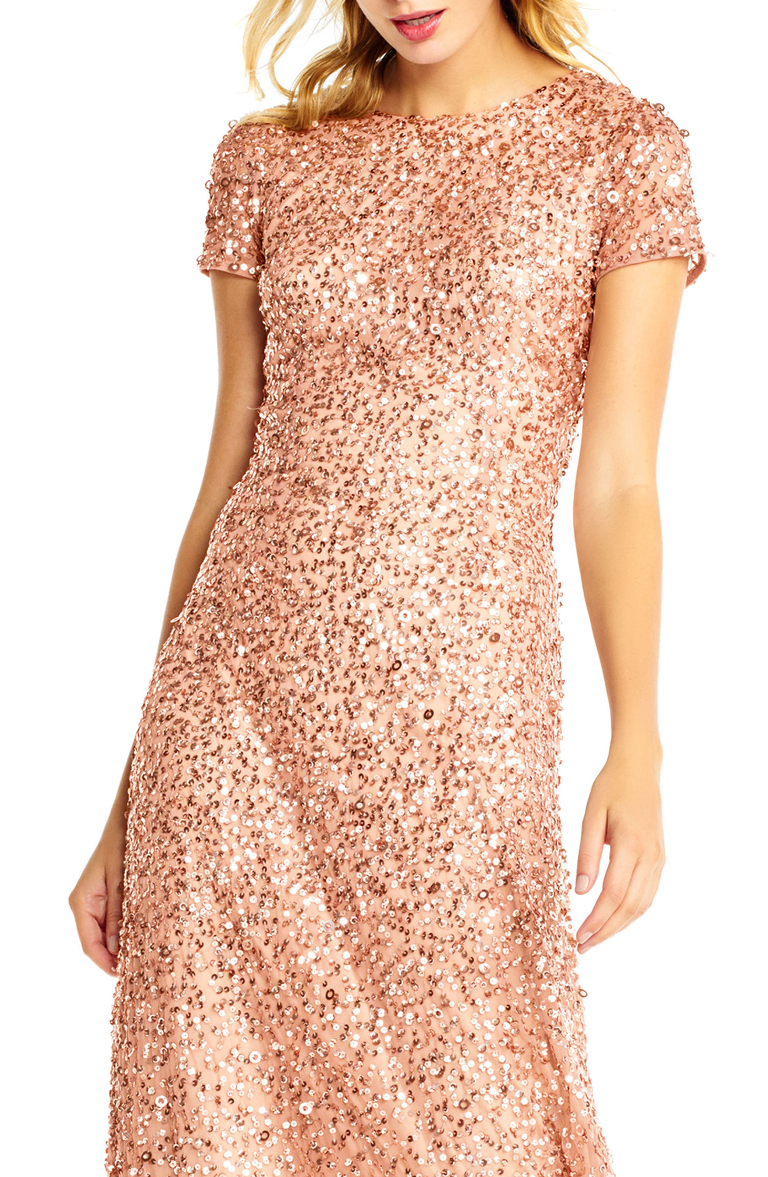 Short Sleeve Sequin Mesh Gown,                             Alternate thumbnail 3, color,                             Rose Gold