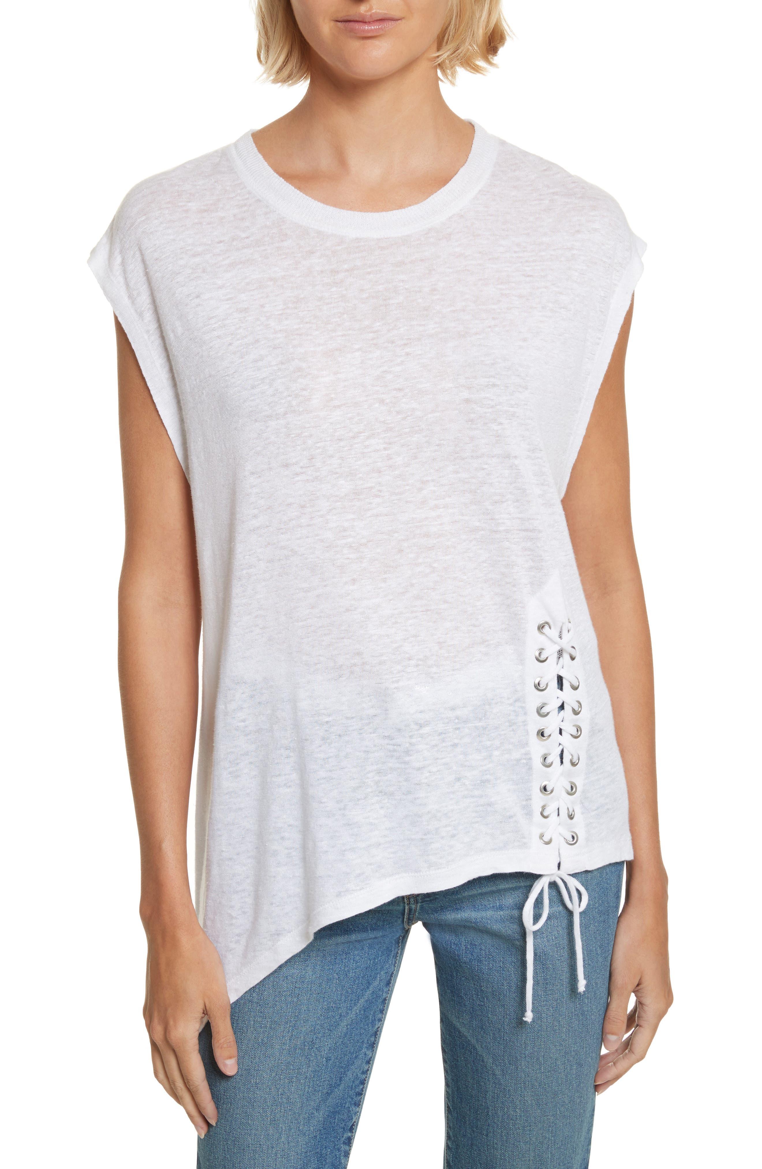 Karami Linen Asymmetrical Lace-Up Top,                         Main,                         color, White