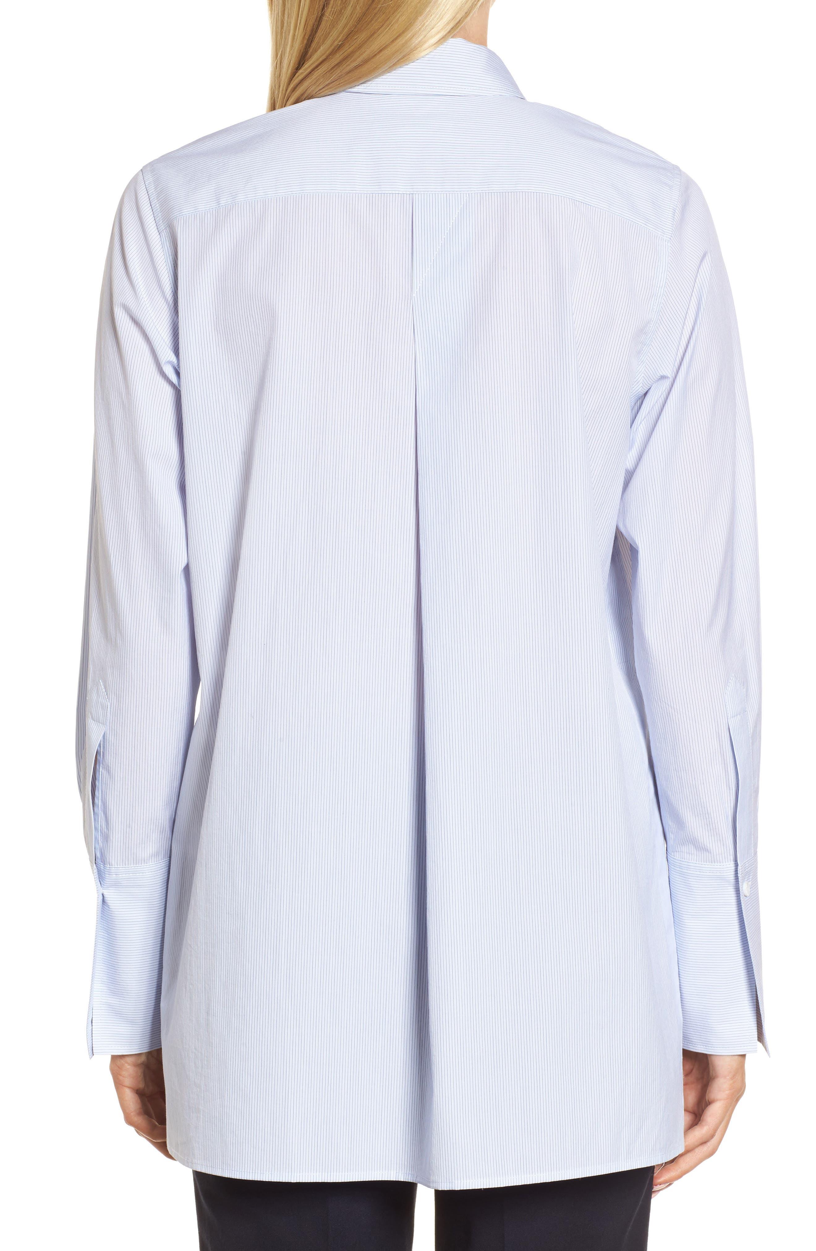 Popover Poplin Shirt,                             Alternate thumbnail 2, color,                             Blue- White Stripe
