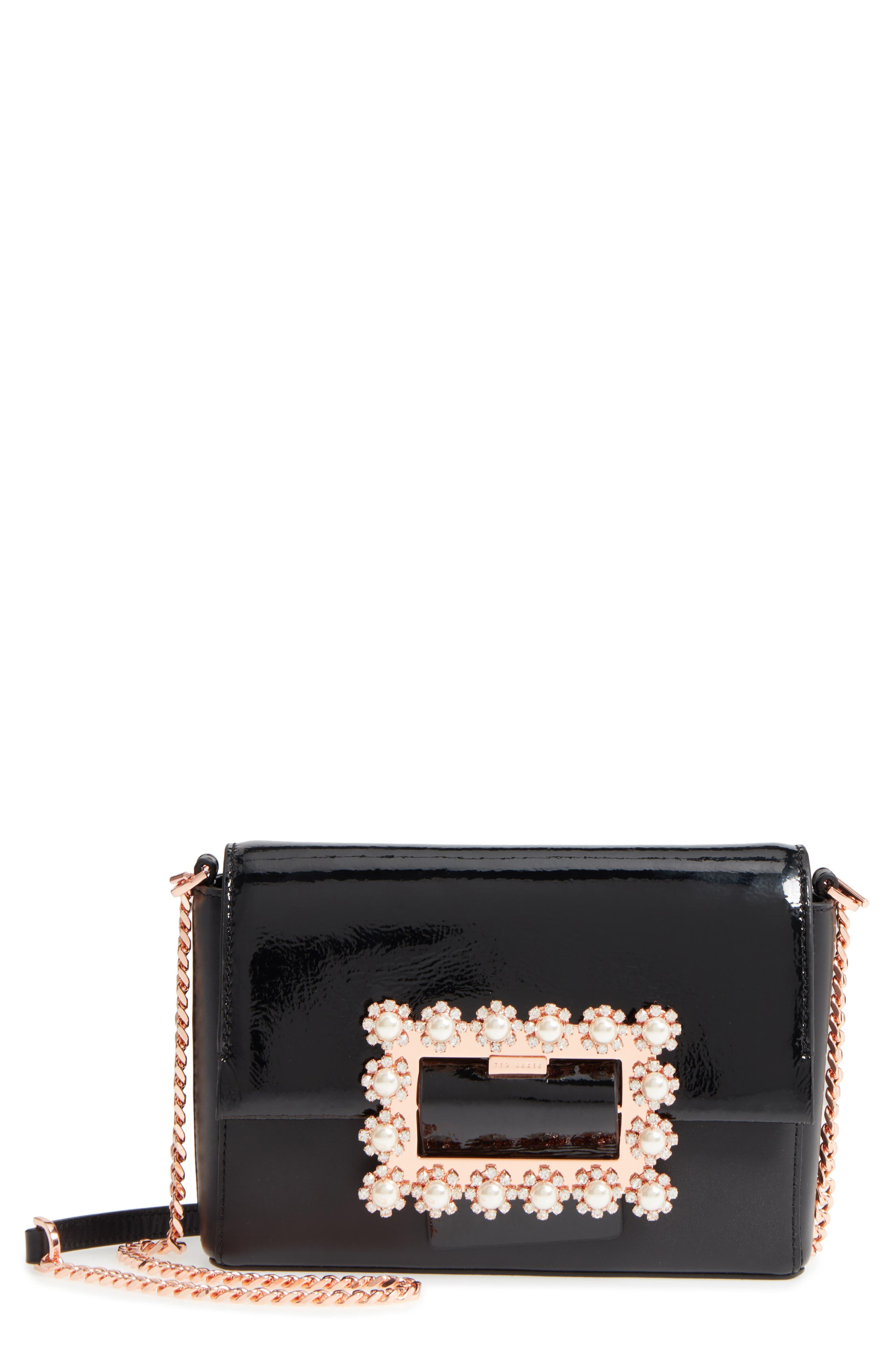 Peonyy Embellished Buckle Leather Clutch,                             Main thumbnail 1, color,                             Black