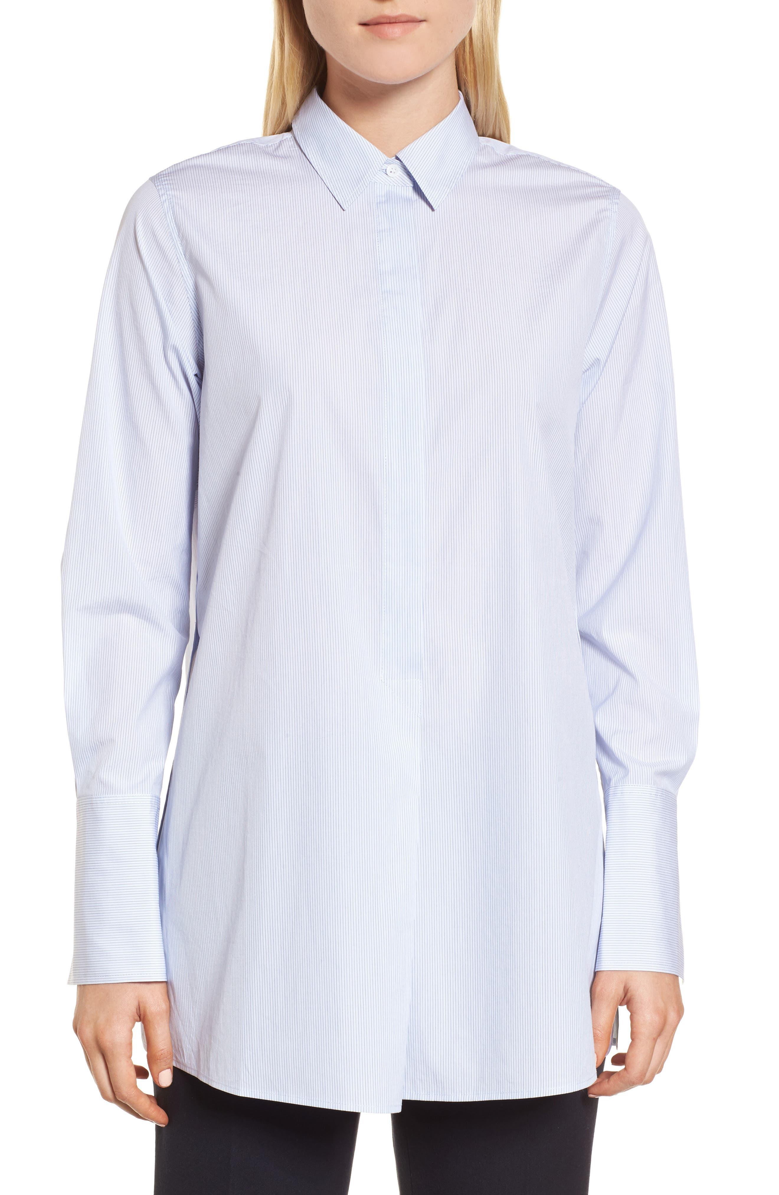 Popover Poplin Shirt,                         Main,                         color, Blue- White Stripe