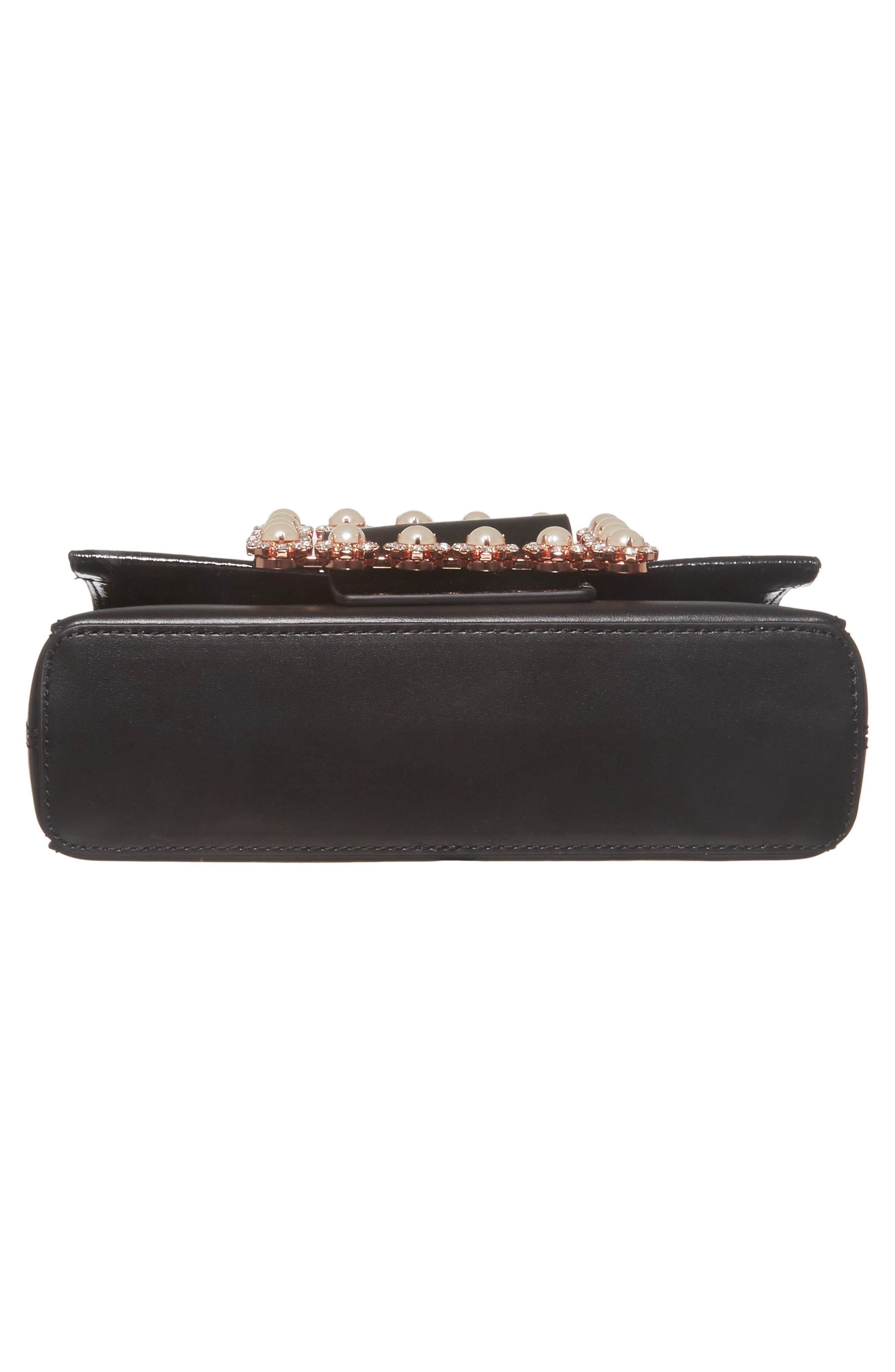 Peonyy Embellished Buckle Leather Clutch,                             Alternate thumbnail 5, color,                             Black