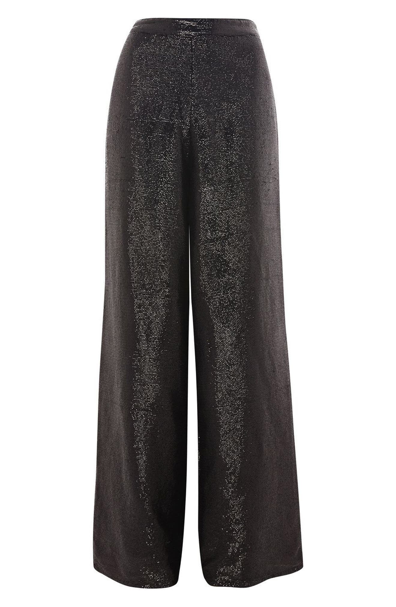 Premium Sequin Wide Leg Trousers,                             Alternate thumbnail 4, color,                             Black