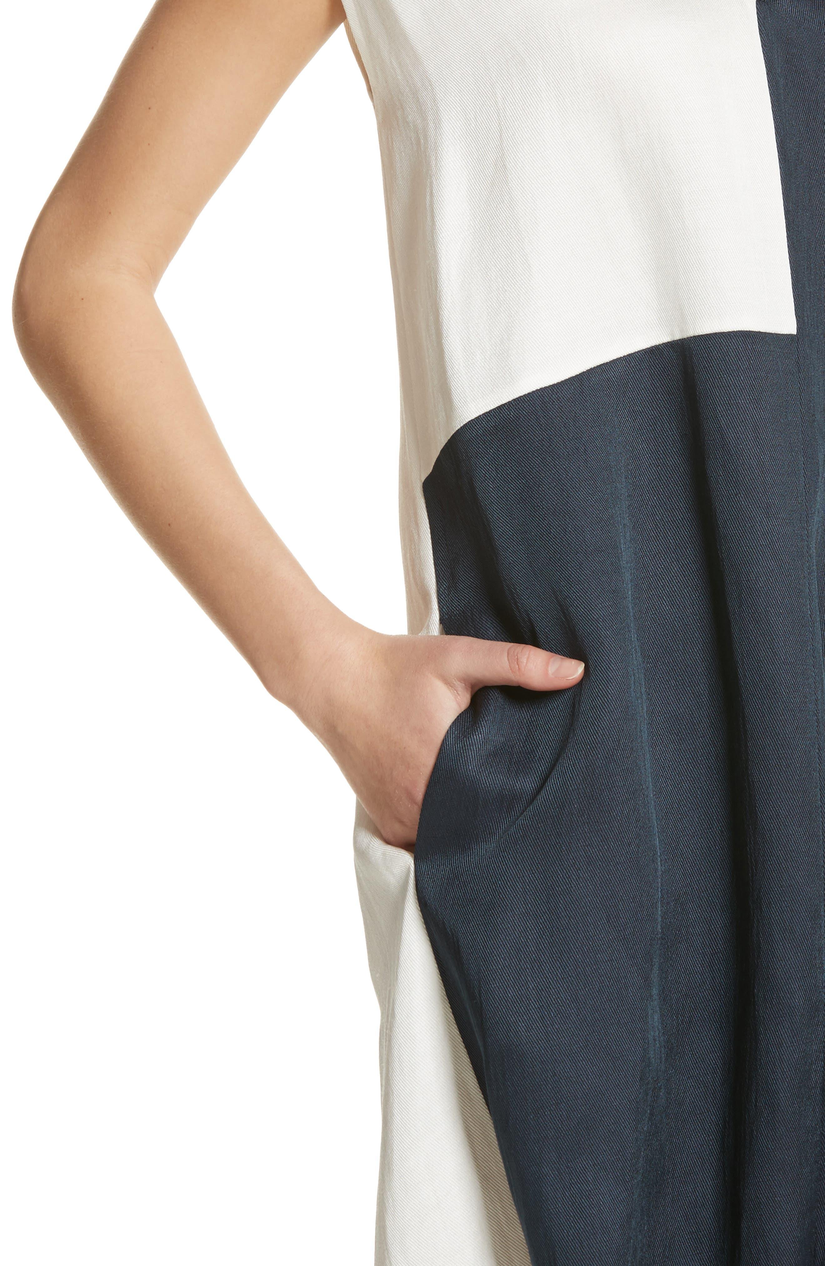 Colorblock Drape Dress,                             Alternate thumbnail 4, color,                             Ink/ White Pepper