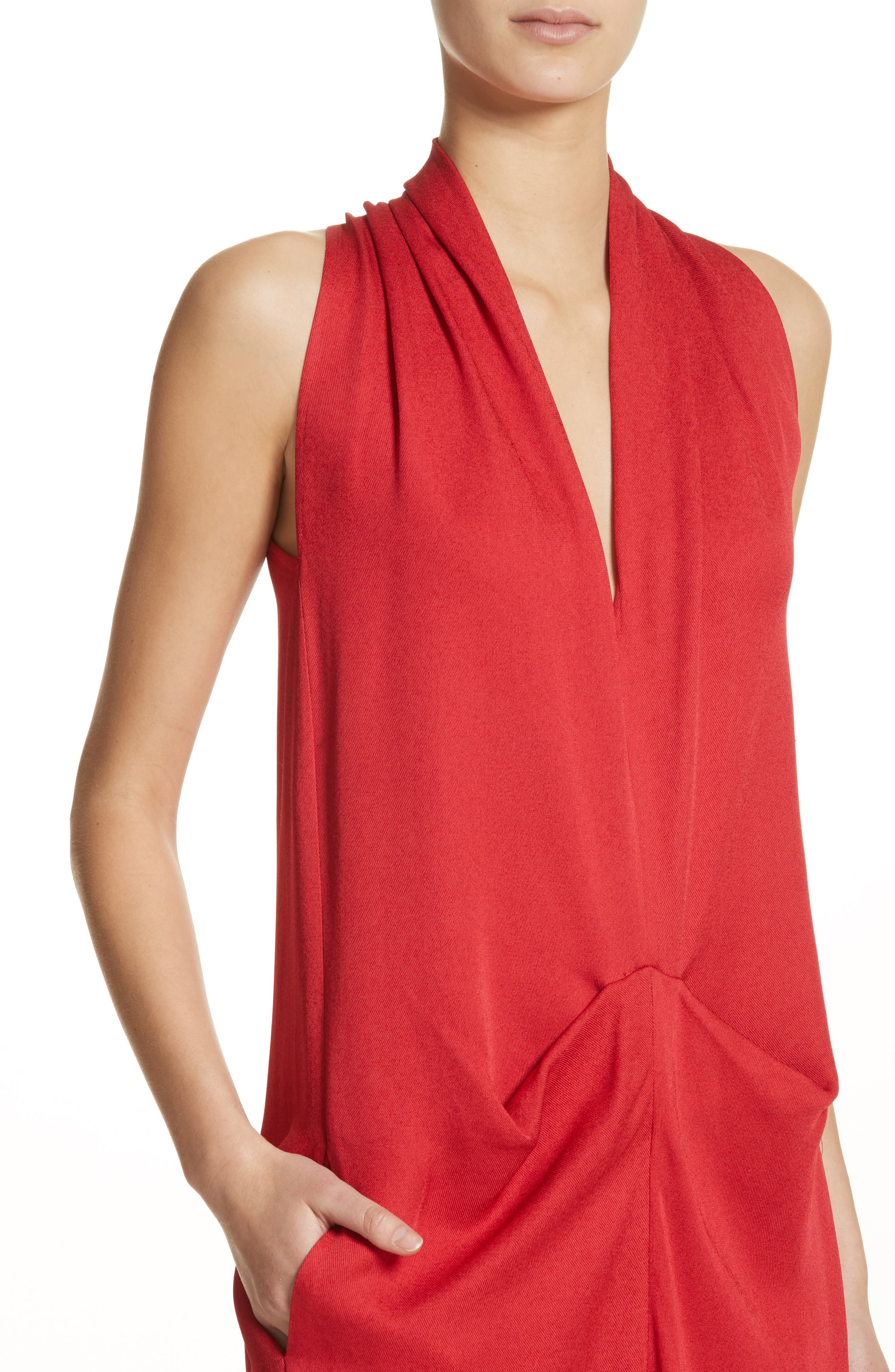 Eco Gathered Maxi Dress,                             Alternate thumbnail 4, color,                             Poppy