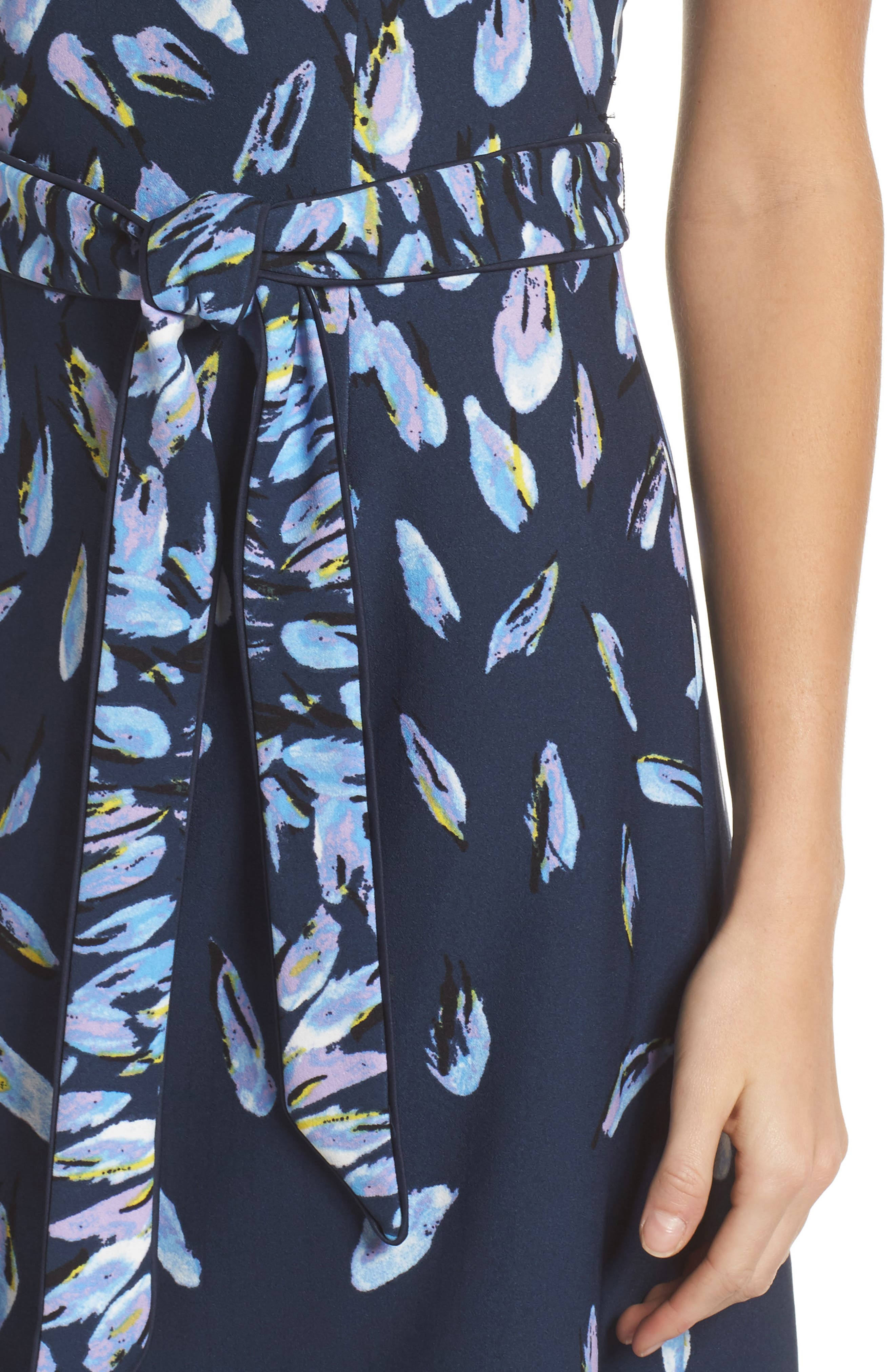 Print Fit & Flare Dress,                             Alternate thumbnail 4, color,                             Navy Multi