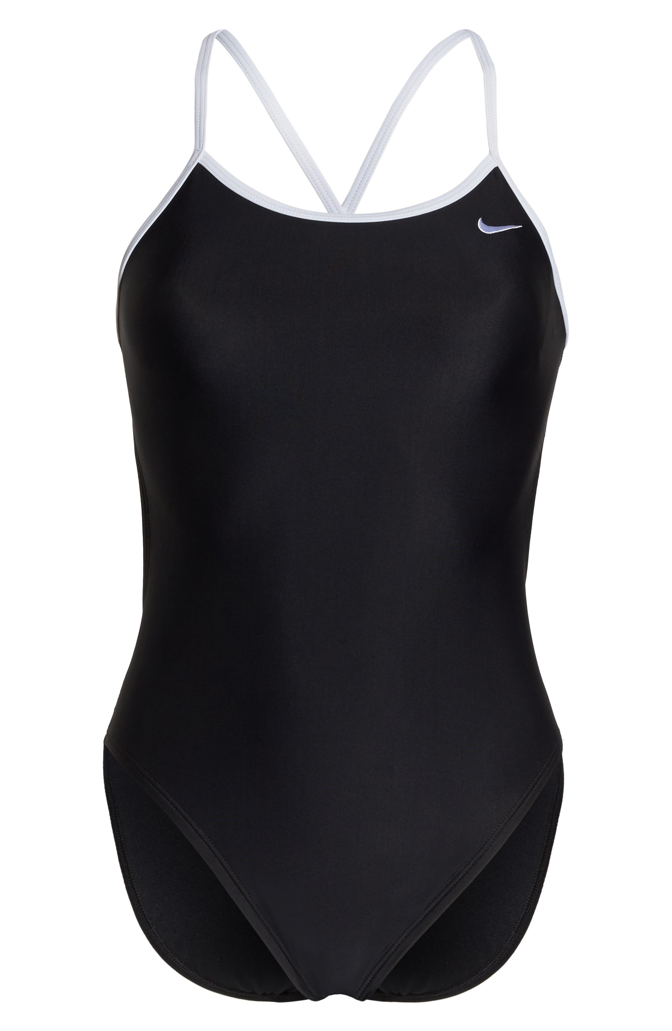 Crossback Cutout One-Piece Swimsuit,                             Alternate thumbnail 6, color,                             Black