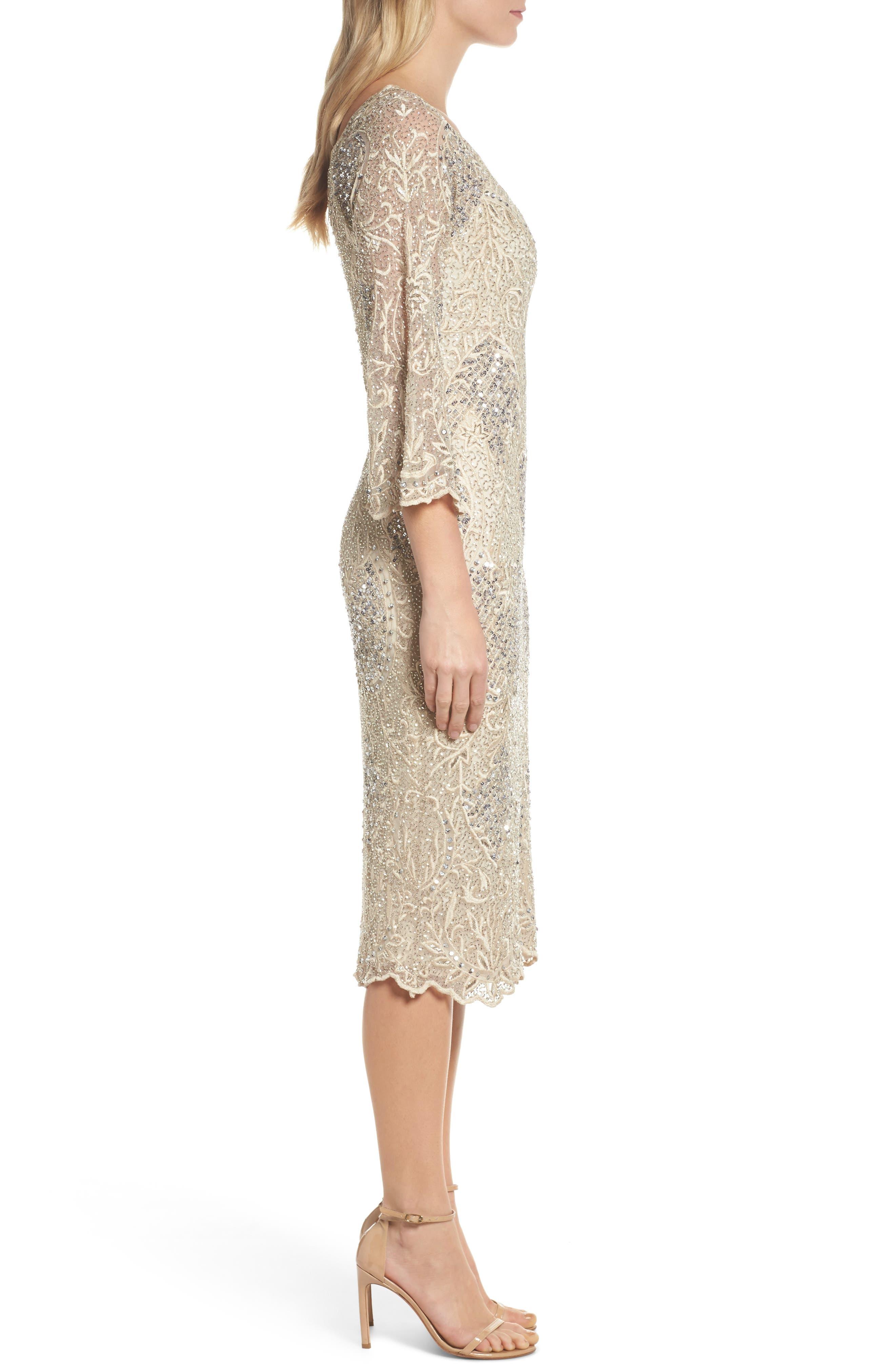 Embroidered Scallop Edge Midi Sheath Dress,                             Alternate thumbnail 3, color,                             Champagne