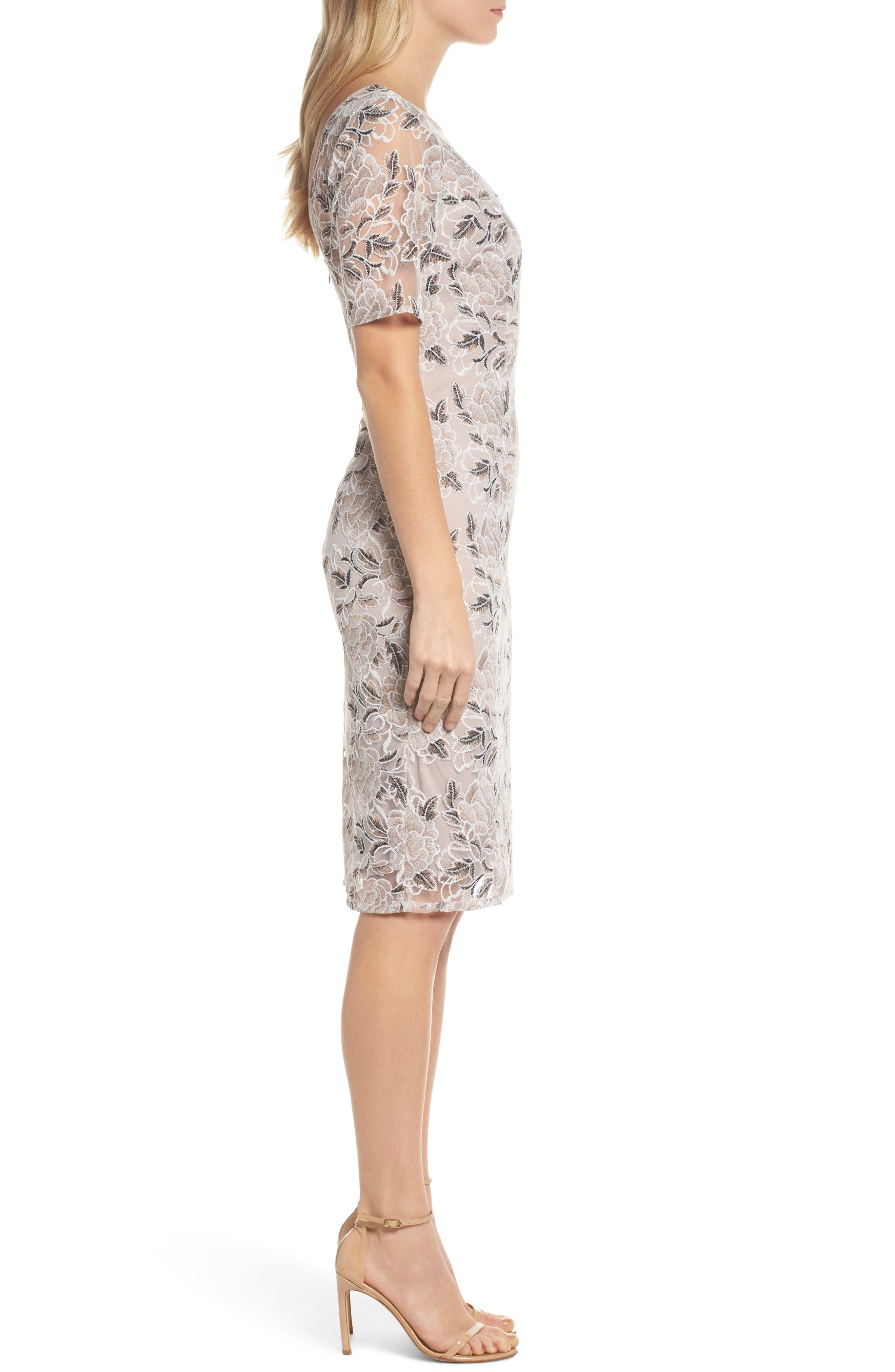 Alternate Image 3  - Adrianna Papell Suzette Embroidered Sheath Dress (Regular & Petite)