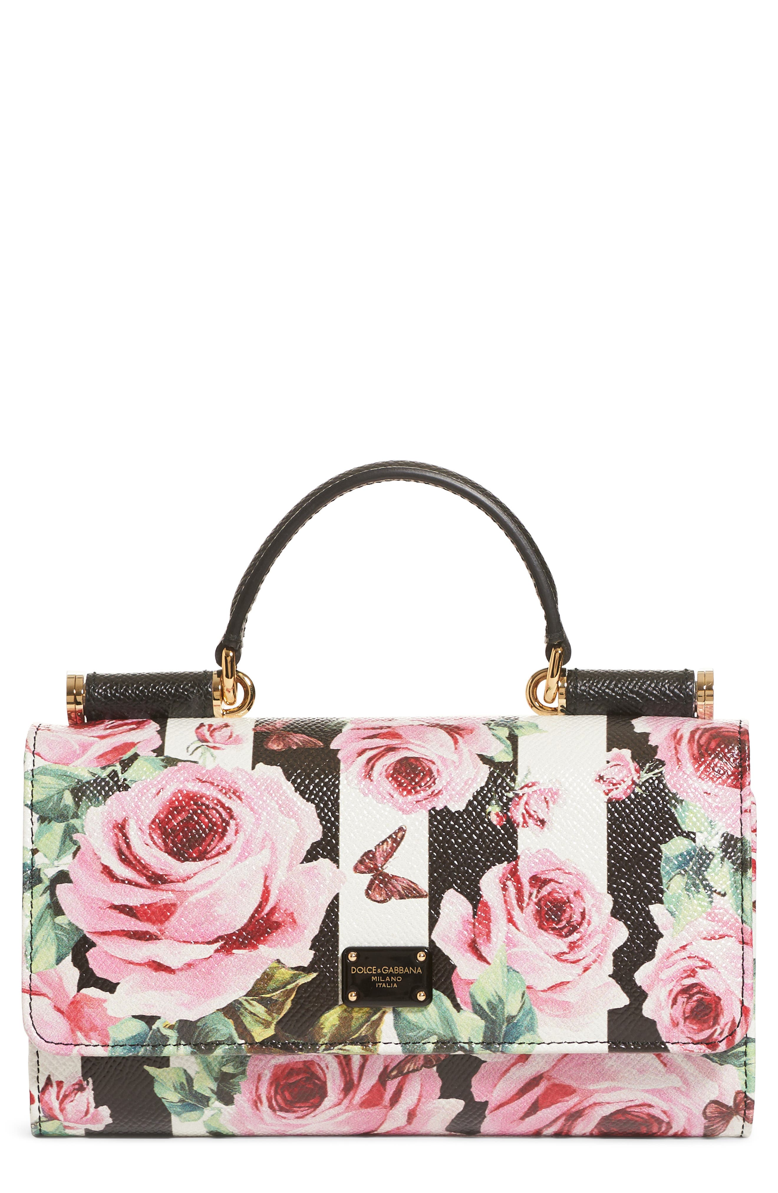 Mini Stripe Floral Calfskin Leather Bag,                             Main thumbnail 1, color,                             Rose/ White/ Nero