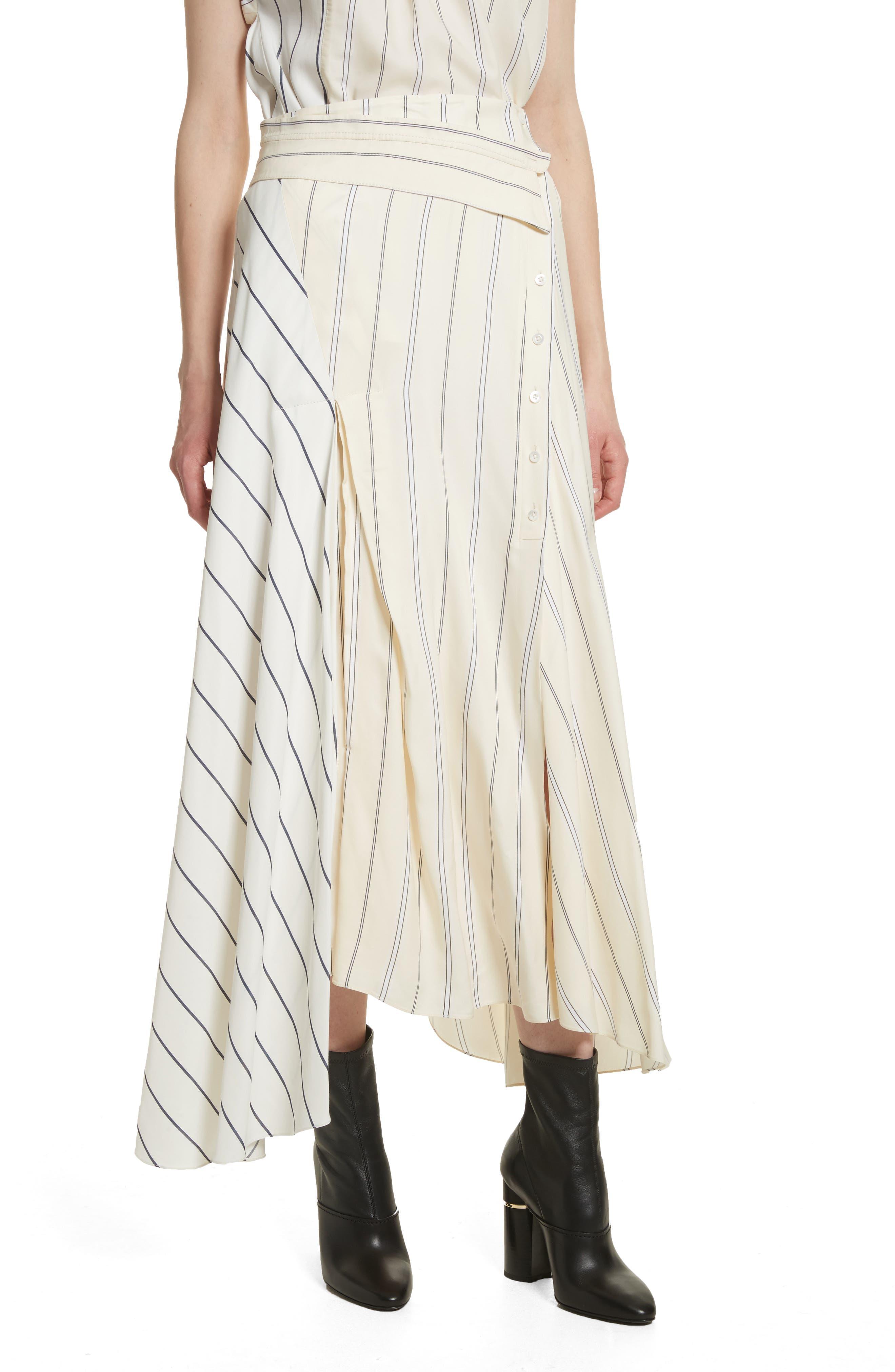 Mixed Stripe Asymmetrical Skirt,                             Main thumbnail 1, color,                             Ivory/ Black