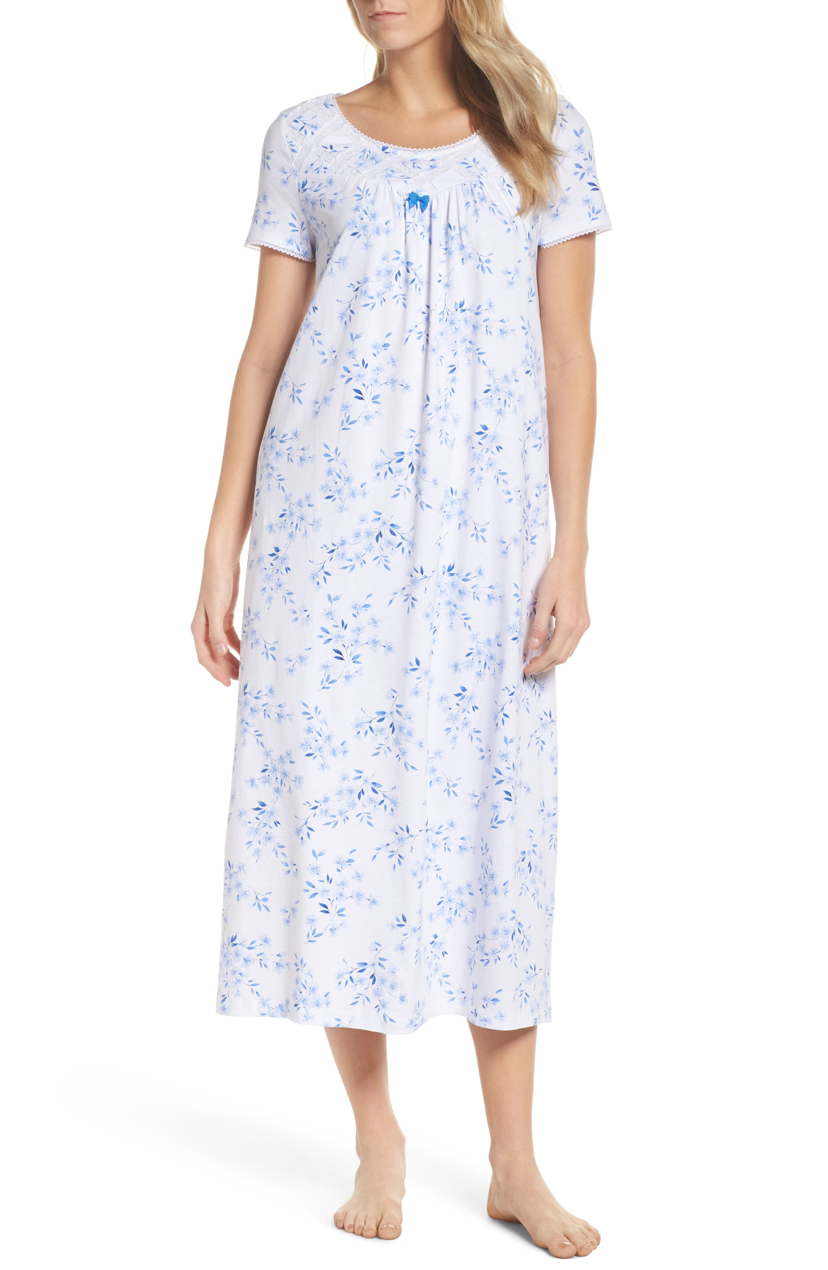 Jersey Long Nightgown,                         Main,                         color, Floral Twin