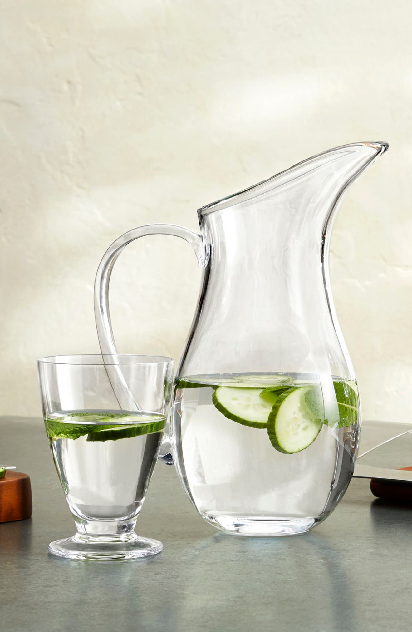Moderne Large Pitcher,                             Alternate thumbnail 3, color,                             Clear