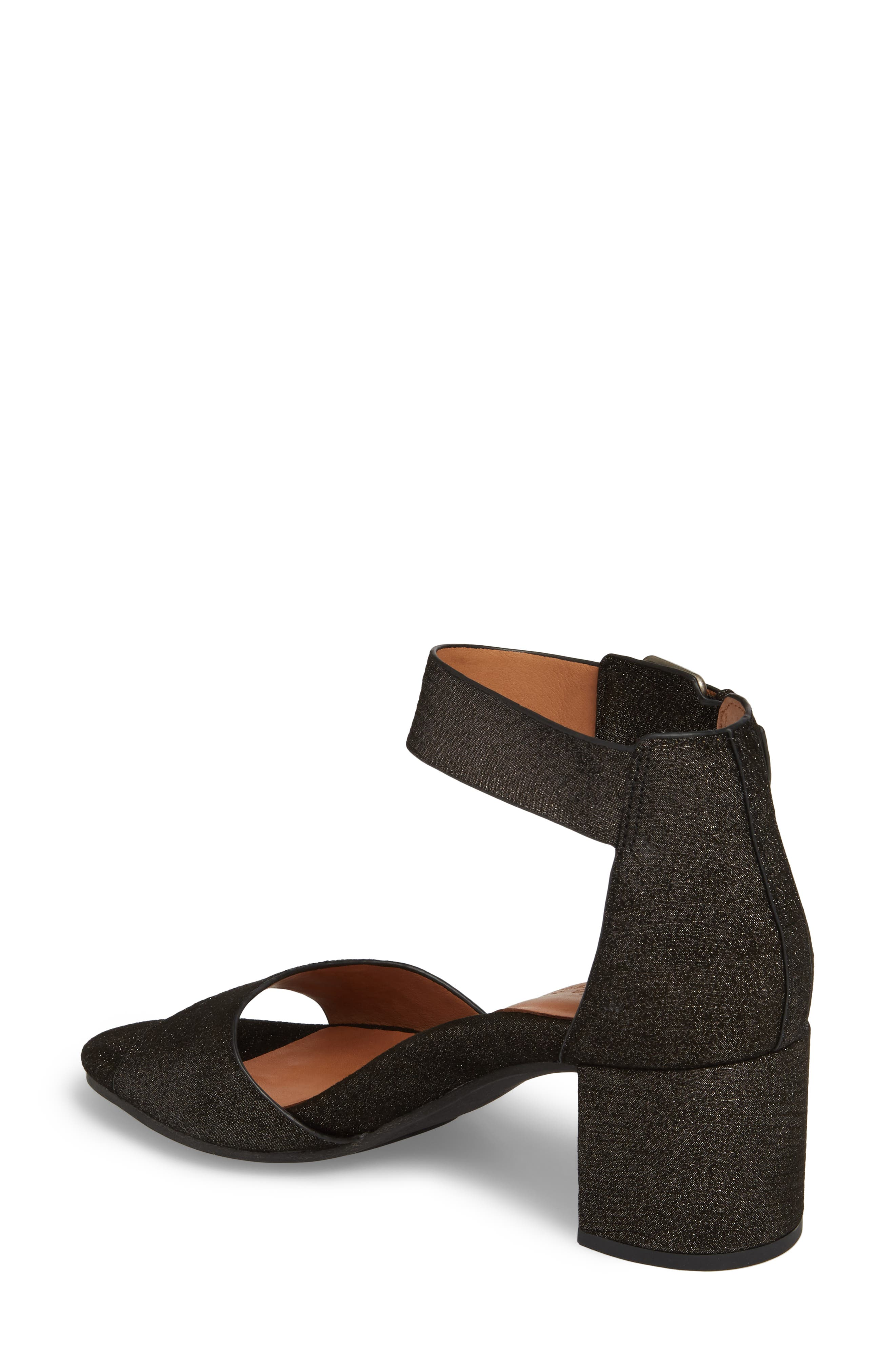 by Kenneth Cole Christa Block Heel Sandal,                             Alternate thumbnail 2, color,                             Black Embossed Leather