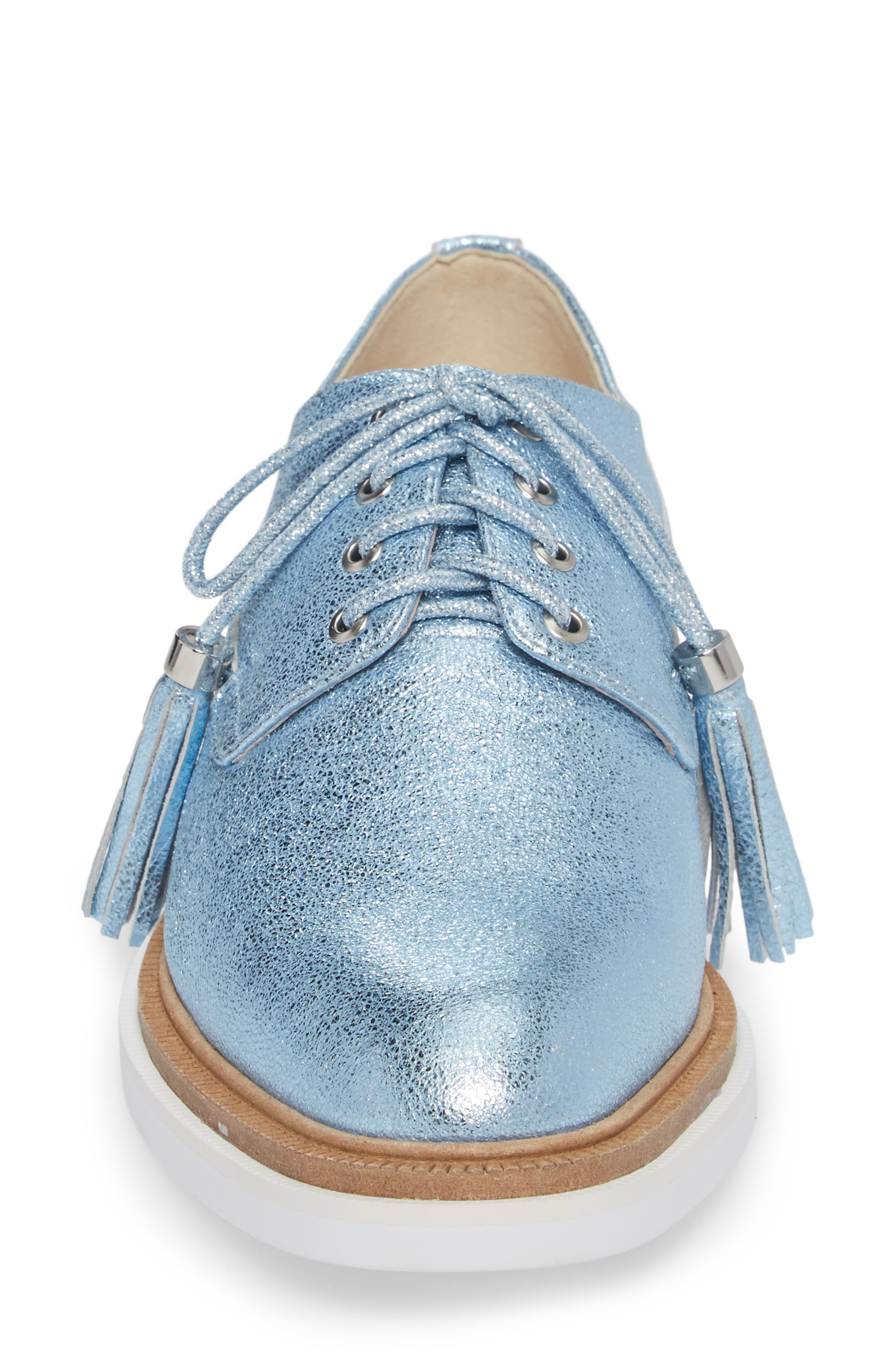Annie Oxford,                             Alternate thumbnail 4, color,                             Blue Metallic Leather