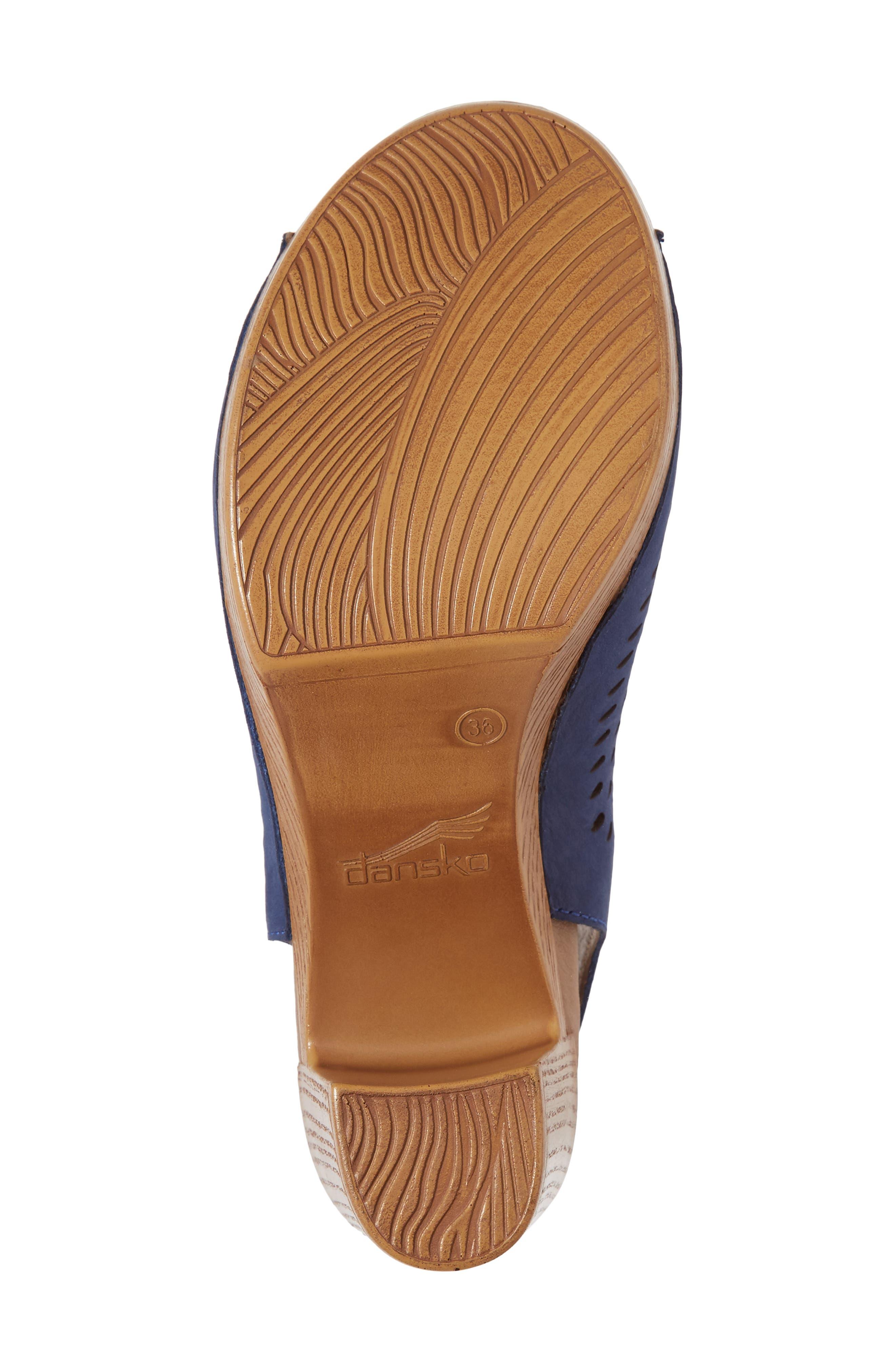 Danae Block Heel Sandal,                             Alternate thumbnail 6, color,                             Blue Milled Nubuck Leather