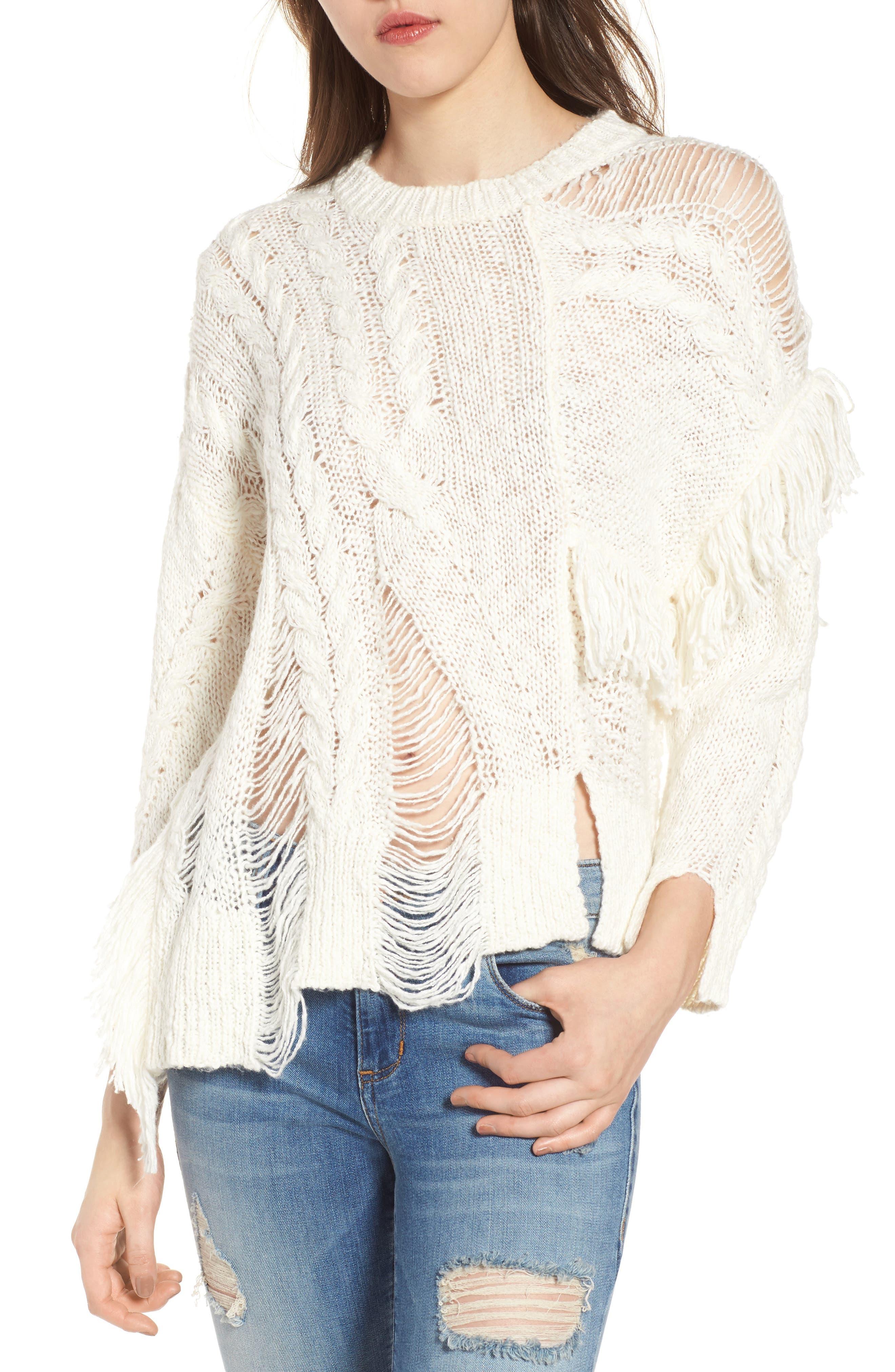 Mix Stitch Sweater,                         Main,                         color, Ivory Egret