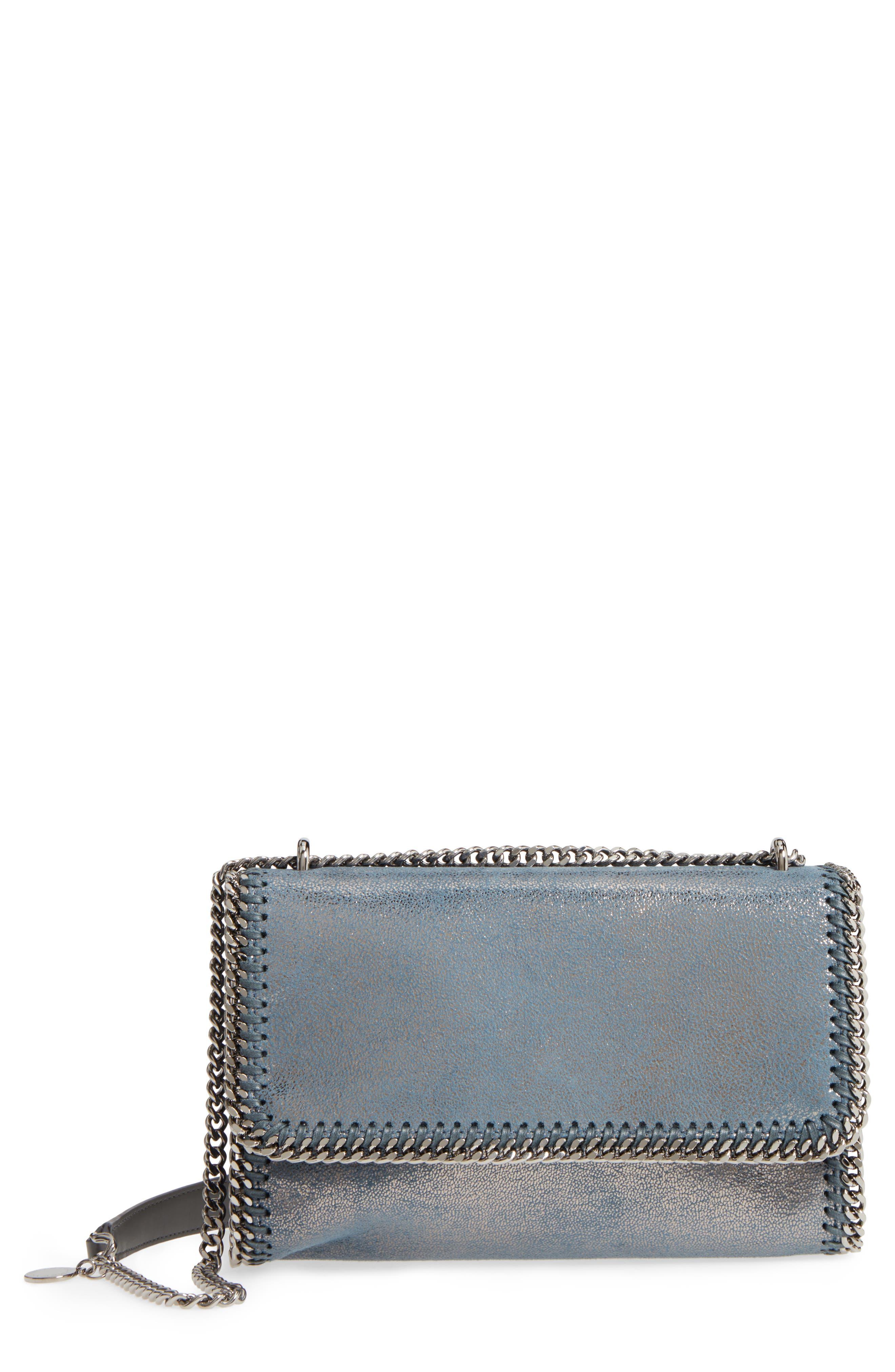 Falabella Metallic Faux Leather Convertible Shoulder Bag,                             Main thumbnail 1, color,                             Blue Lagoon