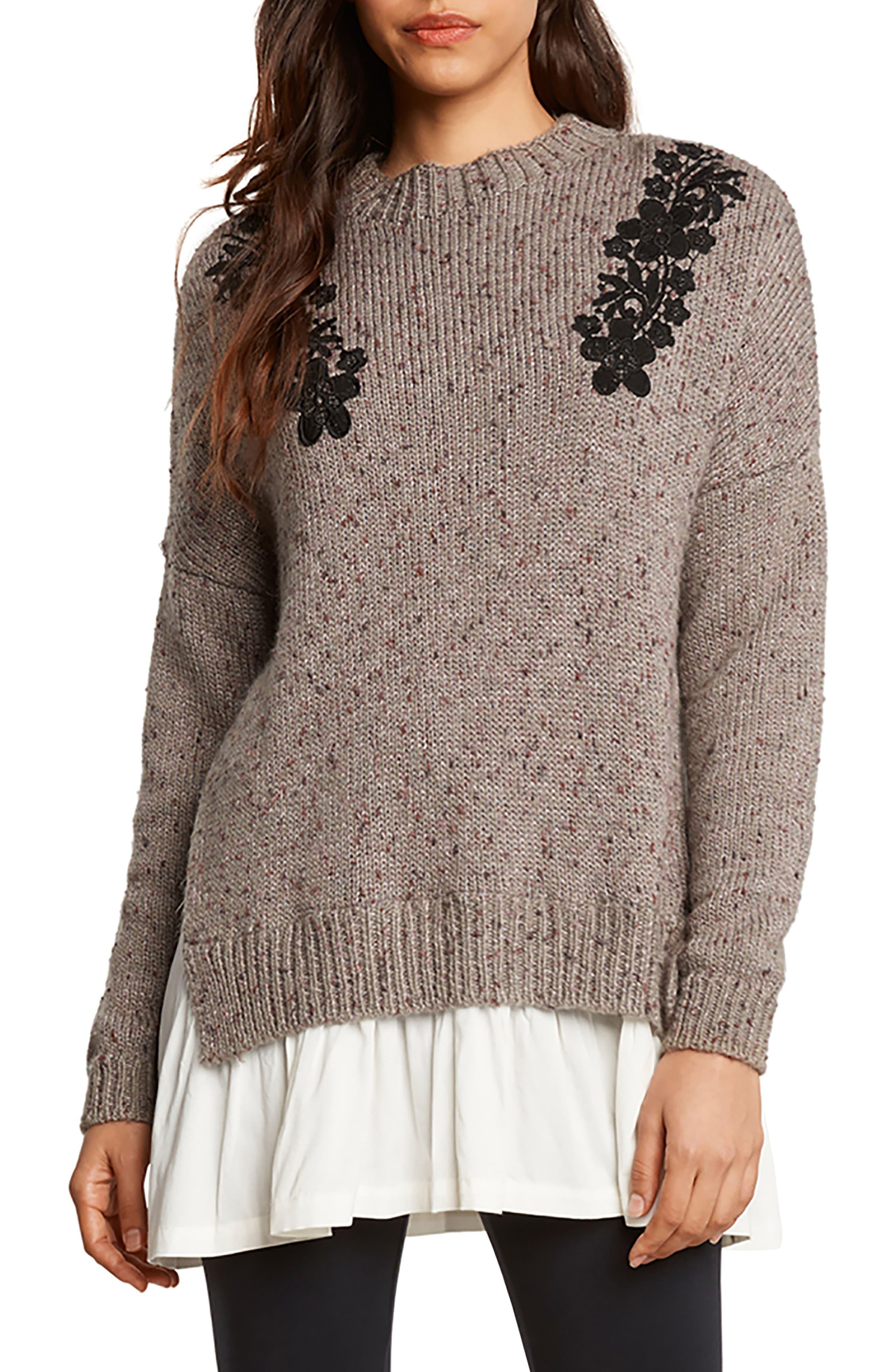 Appliqué Poplin Trim Sweater,                         Main,                         color, Smoke
