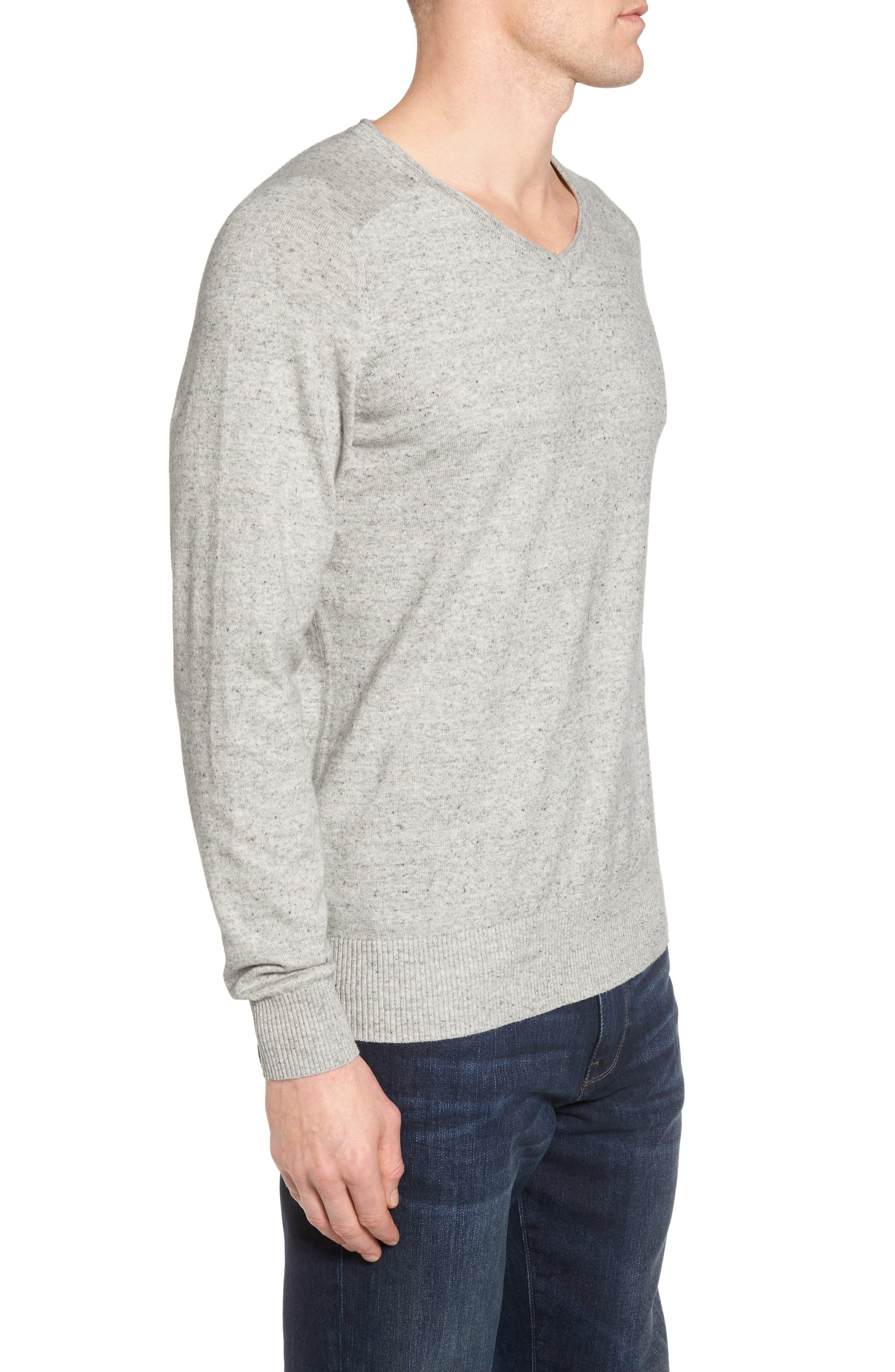 Arbors Cotton V-Neck Sweater,                             Alternate thumbnail 3, color,                             Oatmeal