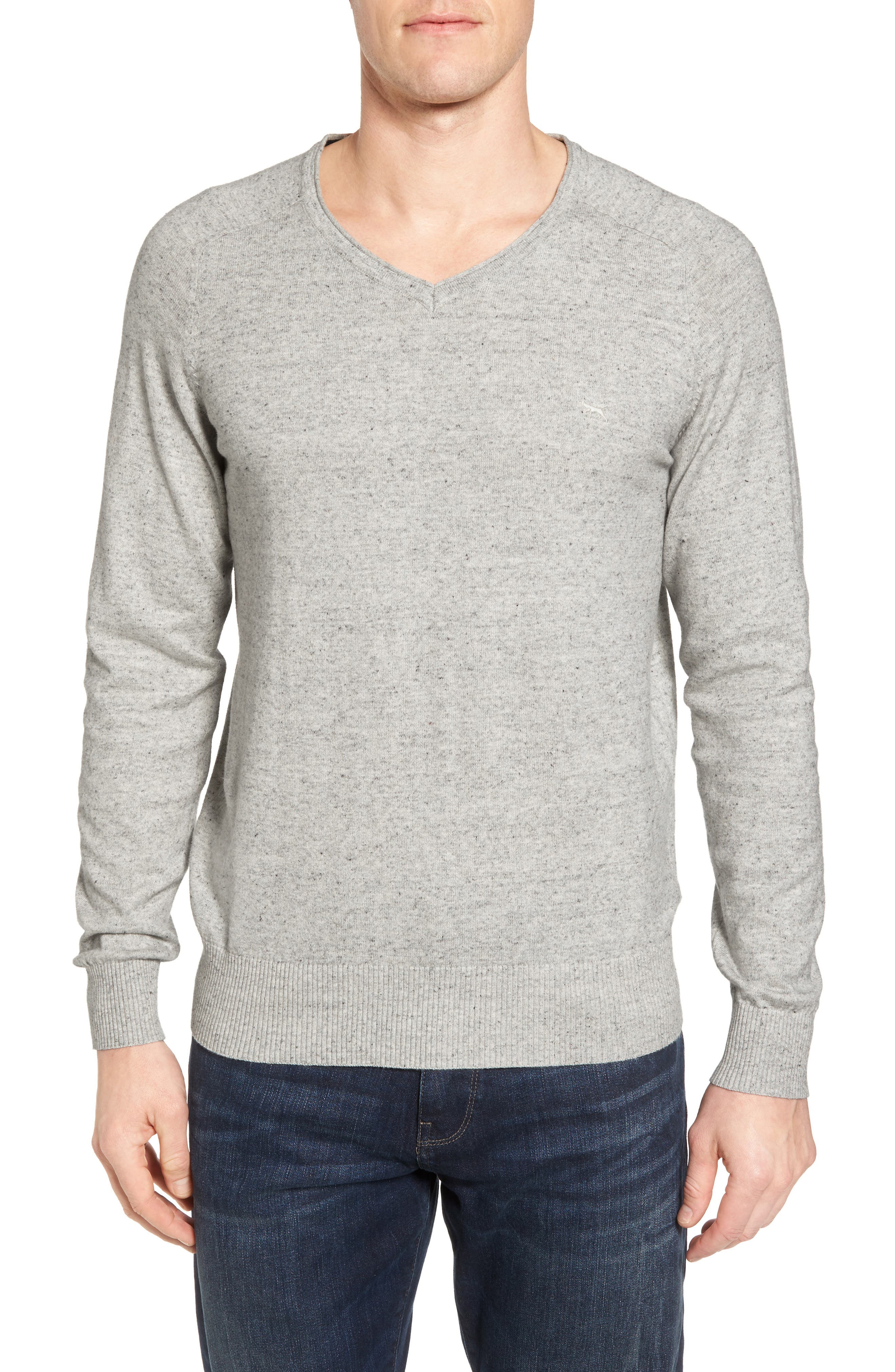 Arbors Cotton V-Neck Sweater,                         Main,                         color, Oatmeal