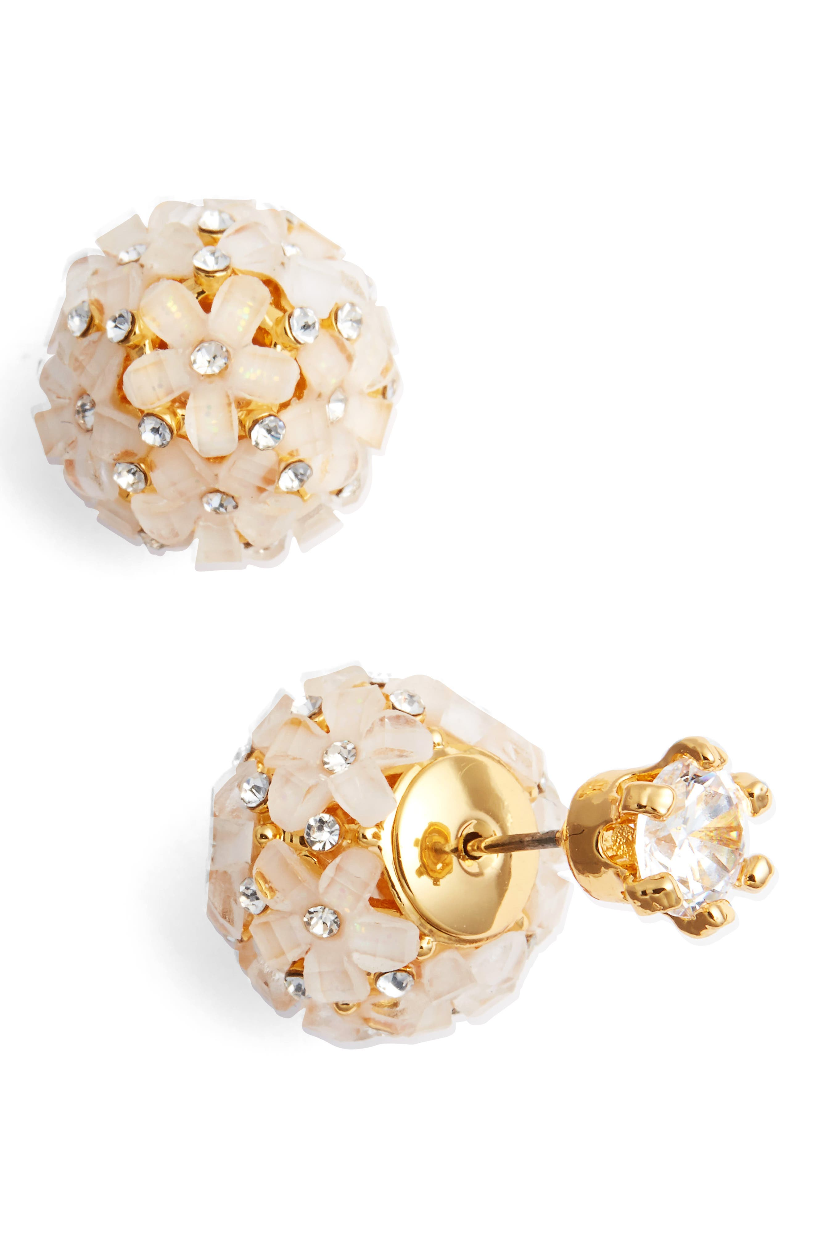 Front to Back Flower Ball Earrings,                             Main thumbnail 1, color,                             Gold/ White Cz