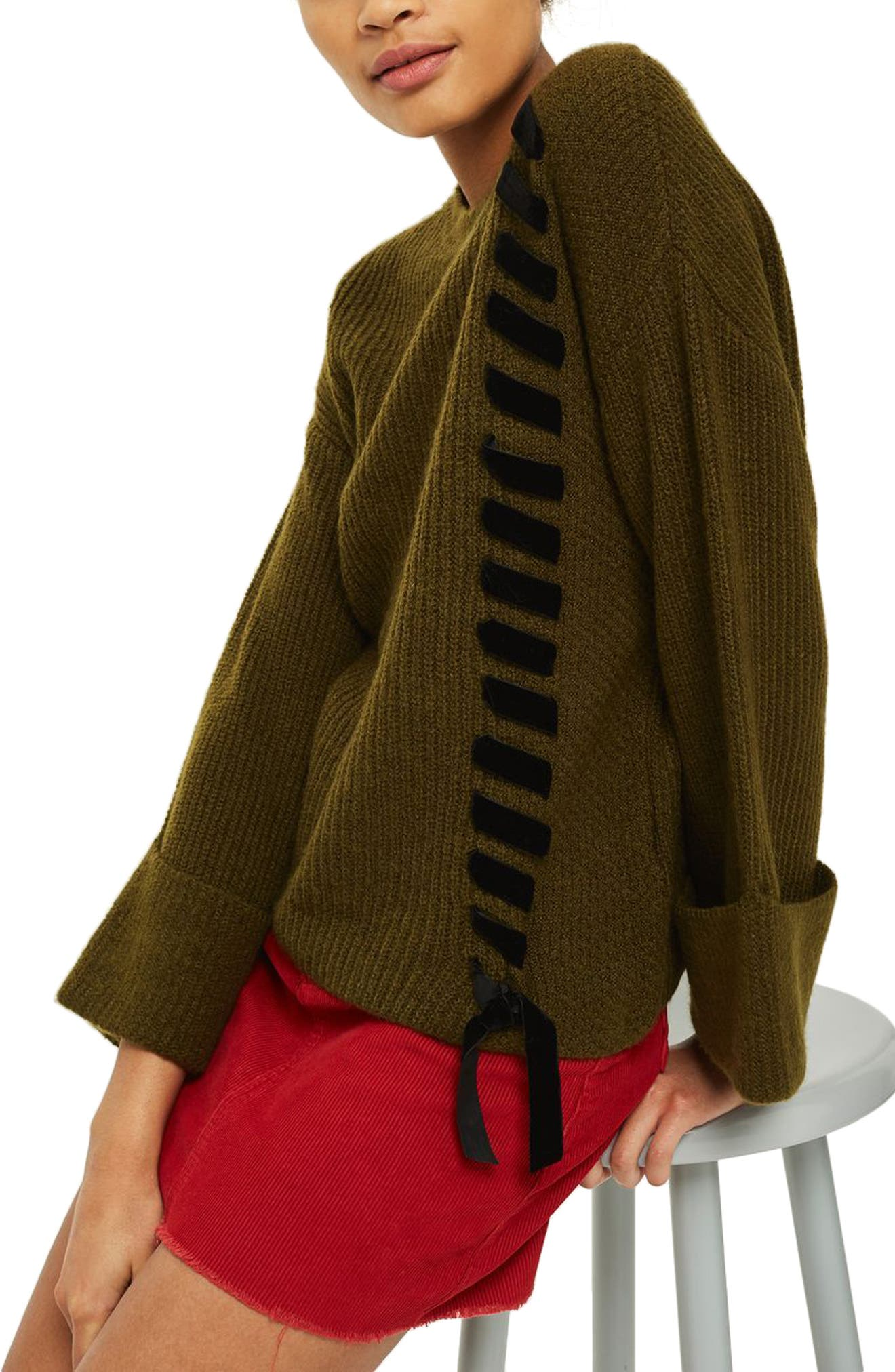 Velvet Ribbon Cuffed Sweater,                         Main,                         color, Olive Multi