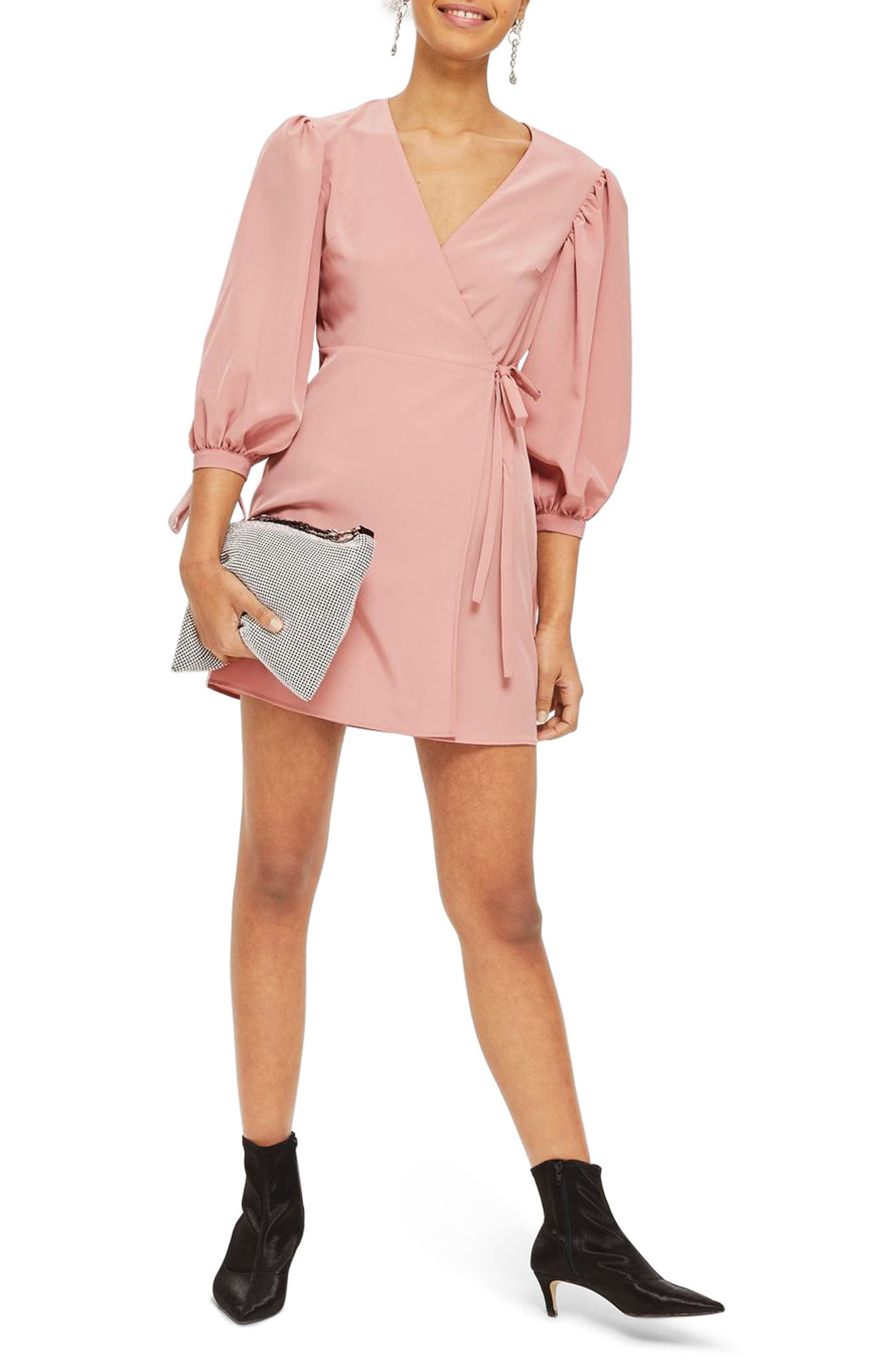 Tie Cuff Wrap Minidress,                         Main,                         color, Blush