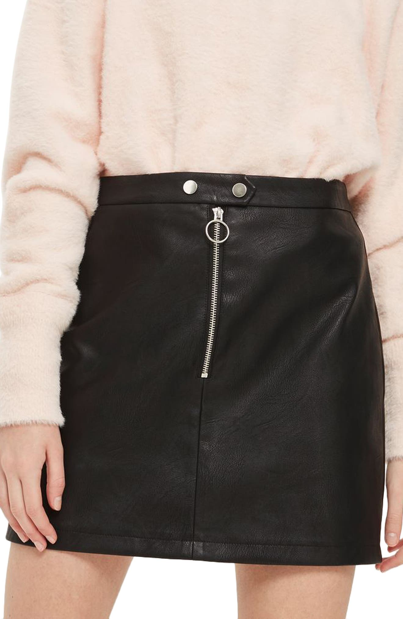 Zip Front Faux Leather Miniskirt,                             Main thumbnail 1, color,                             Black