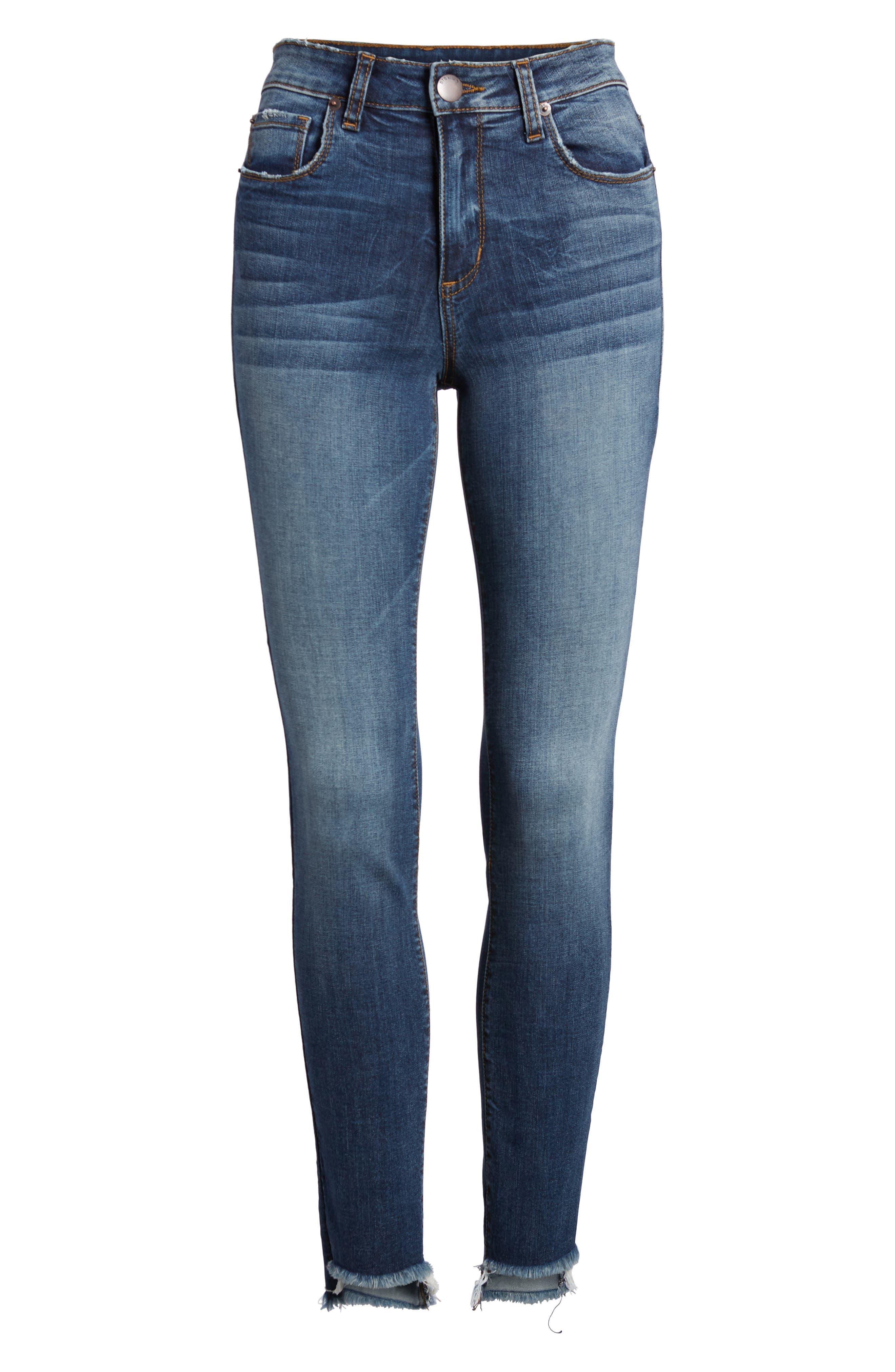 Ellie Step Hem Skinny Jeans,                             Alternate thumbnail 7, color,                             Floresta