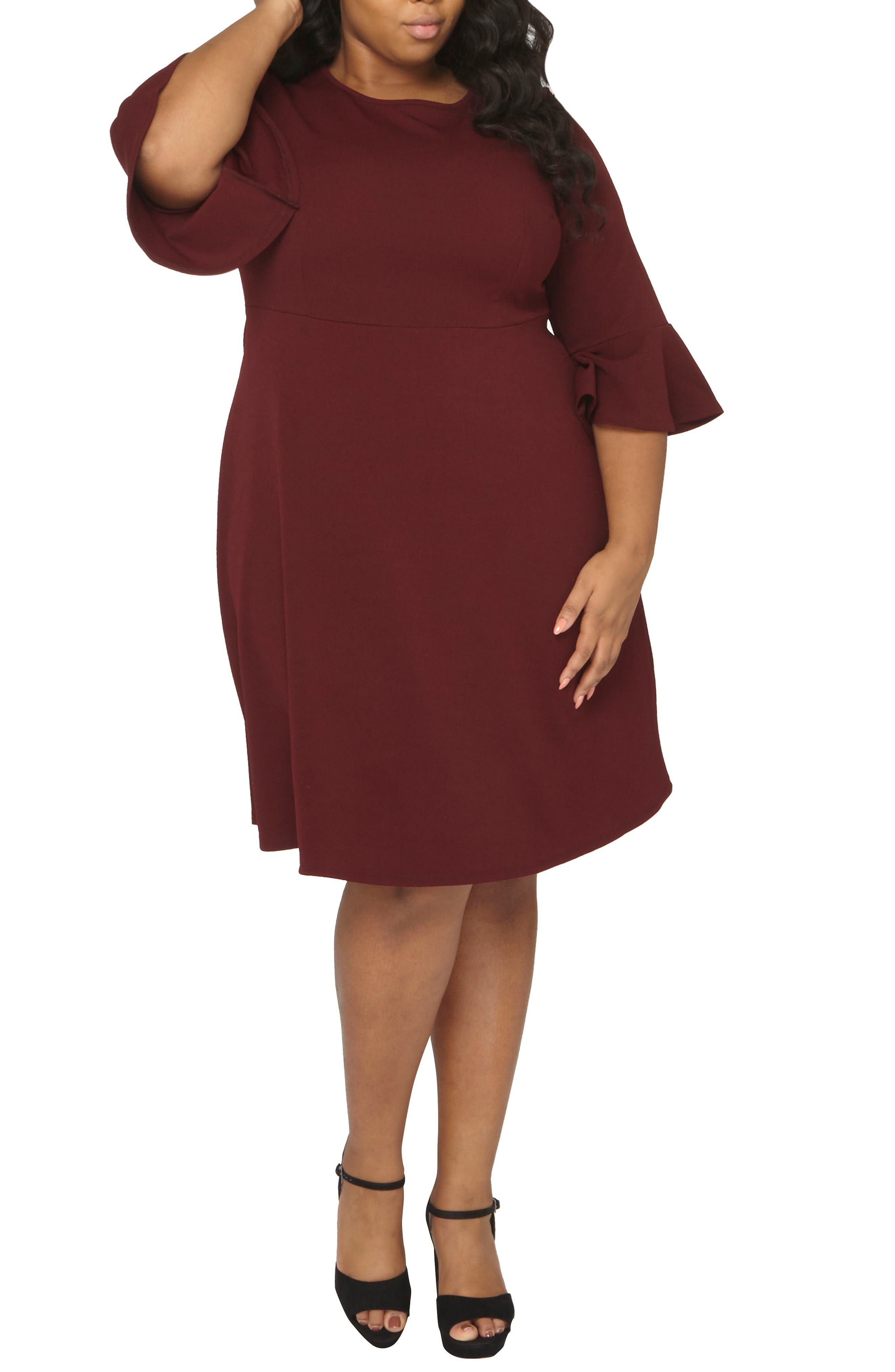 Ruffle Sleeve Fitted Dress,                             Alternate thumbnail 3, color,                             Wine