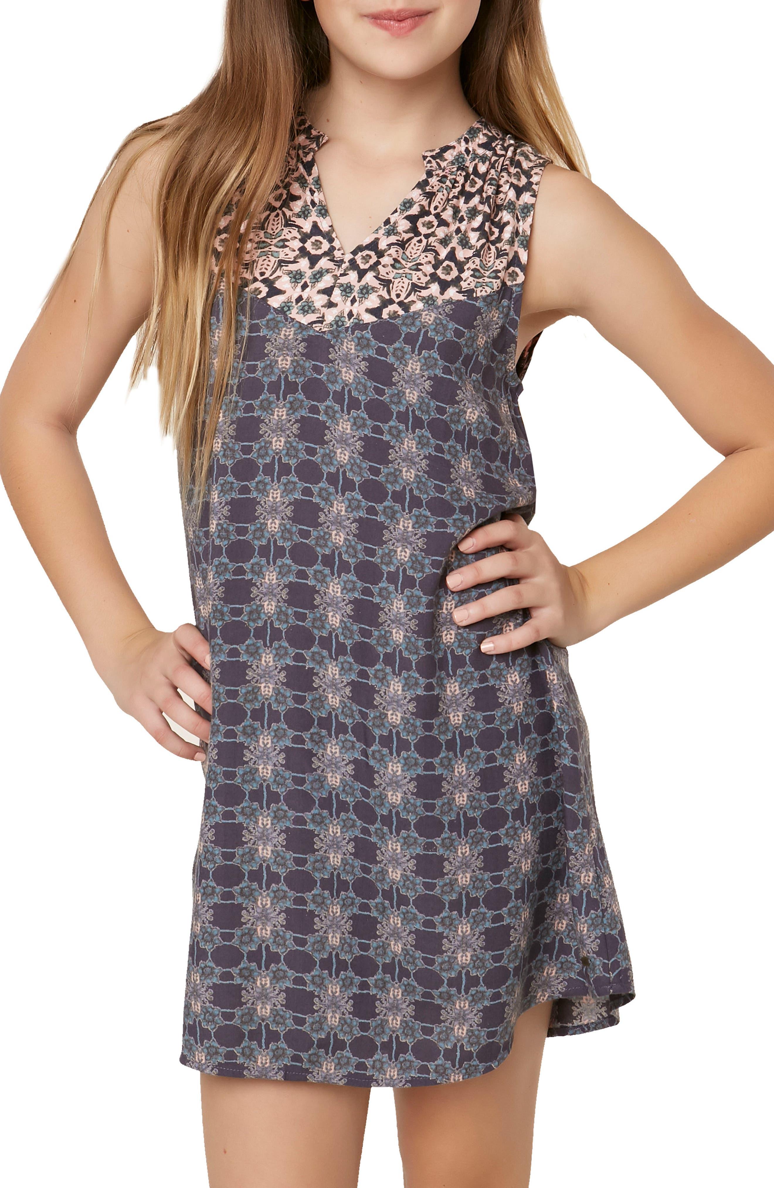 Gina Mixed Print Dress,                             Alternate thumbnail 4, color,                             Asphalt - Gra