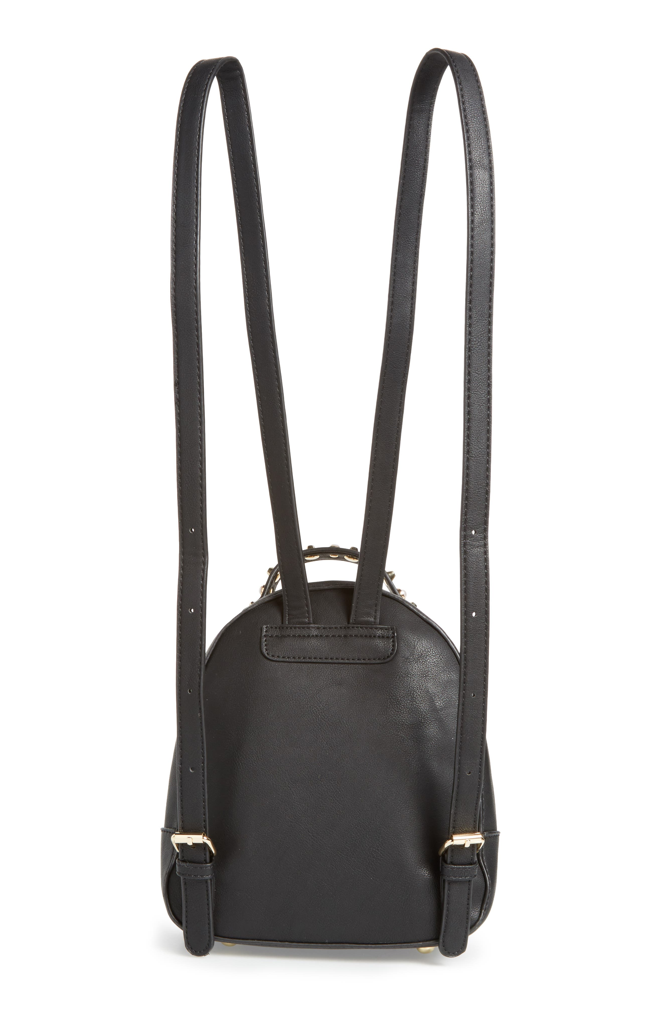 Embellished Faux Leather Backpack,                             Alternate thumbnail 2, color,                             Black
