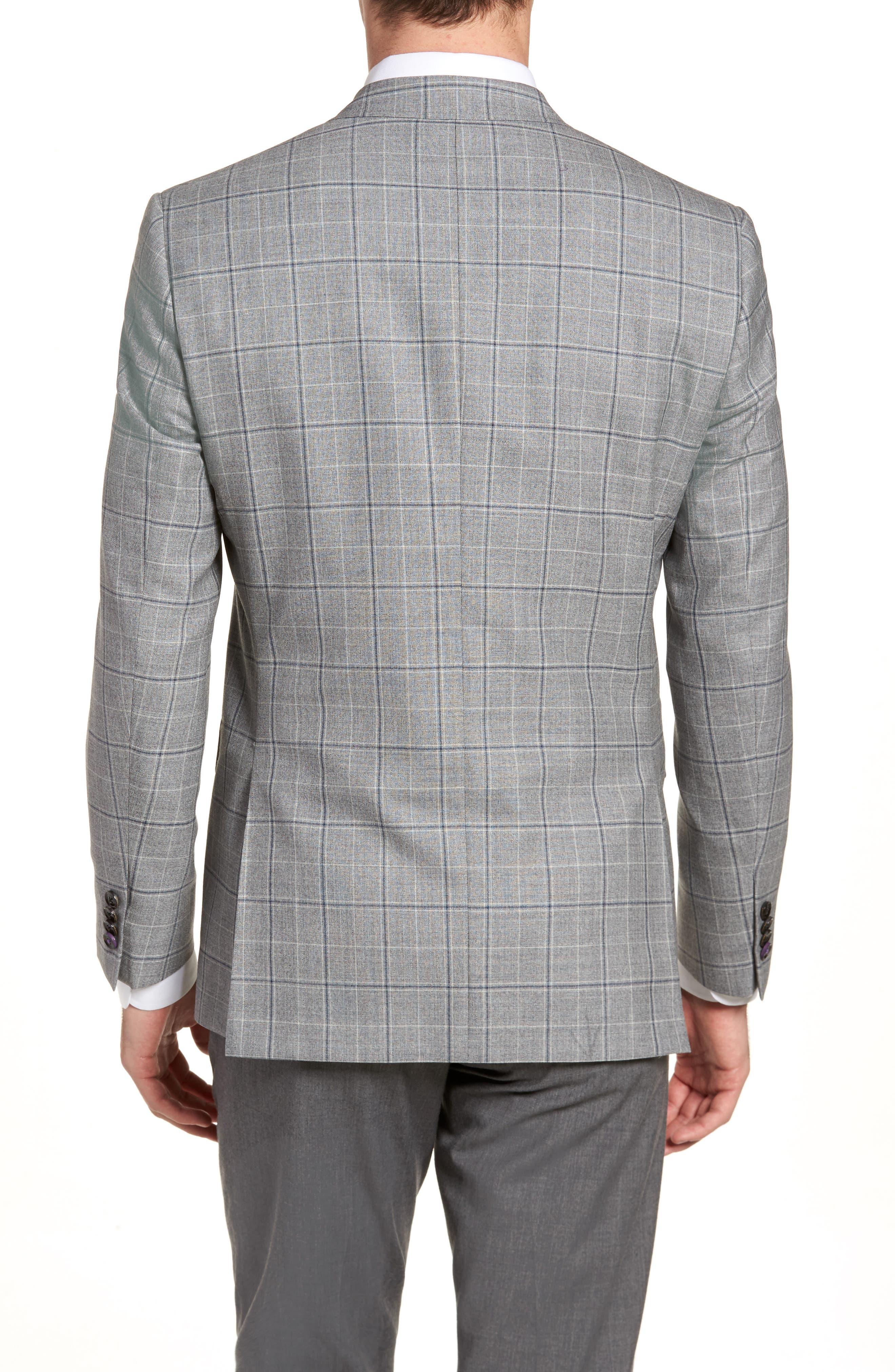 Jay Trim Fit Plaid Wool Sport Coat,                             Alternate thumbnail 2, color,                             Light Grey