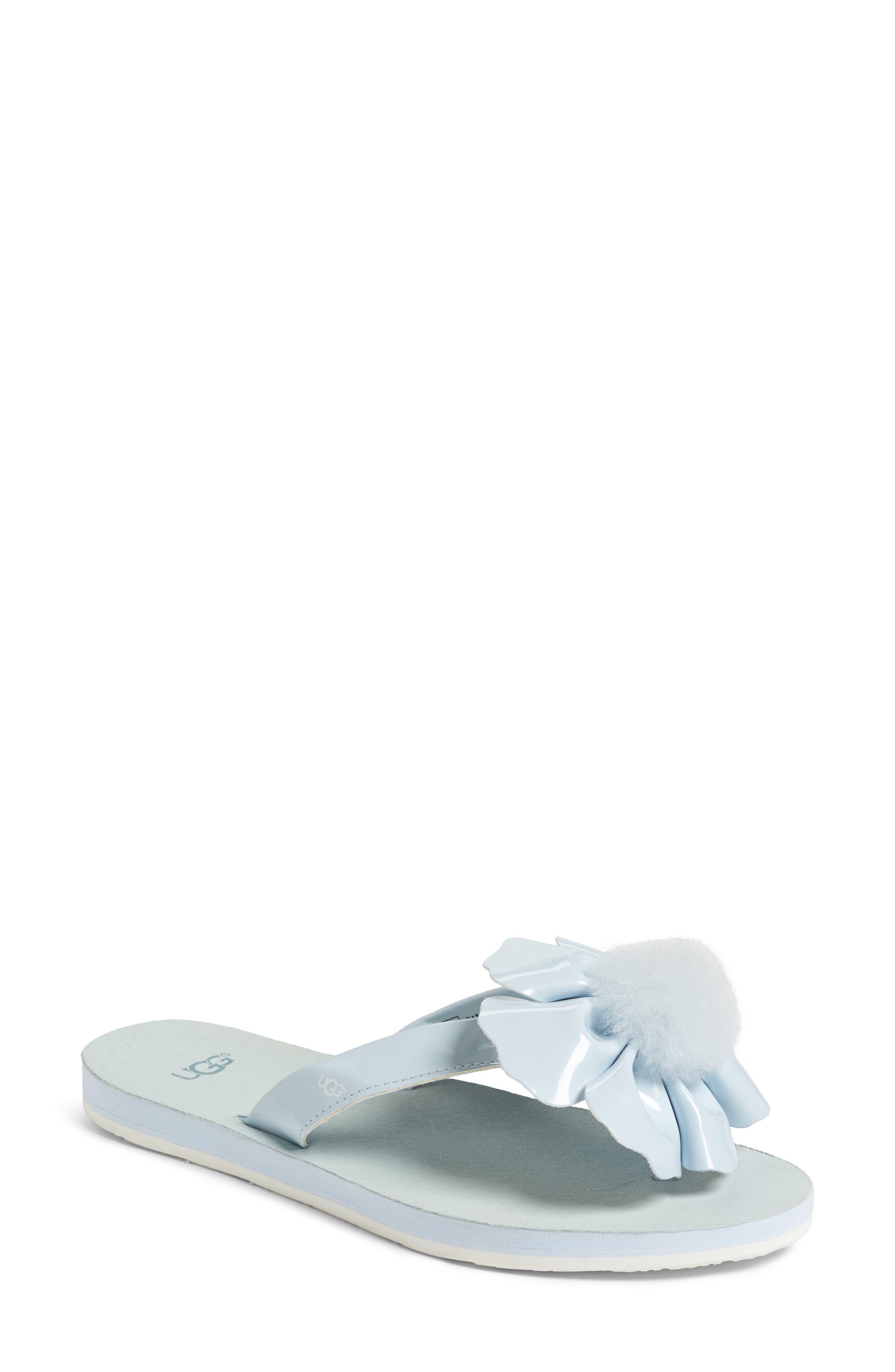 UGG® Poppy Genuine Shearling Pompom Flip Flop (Women)
