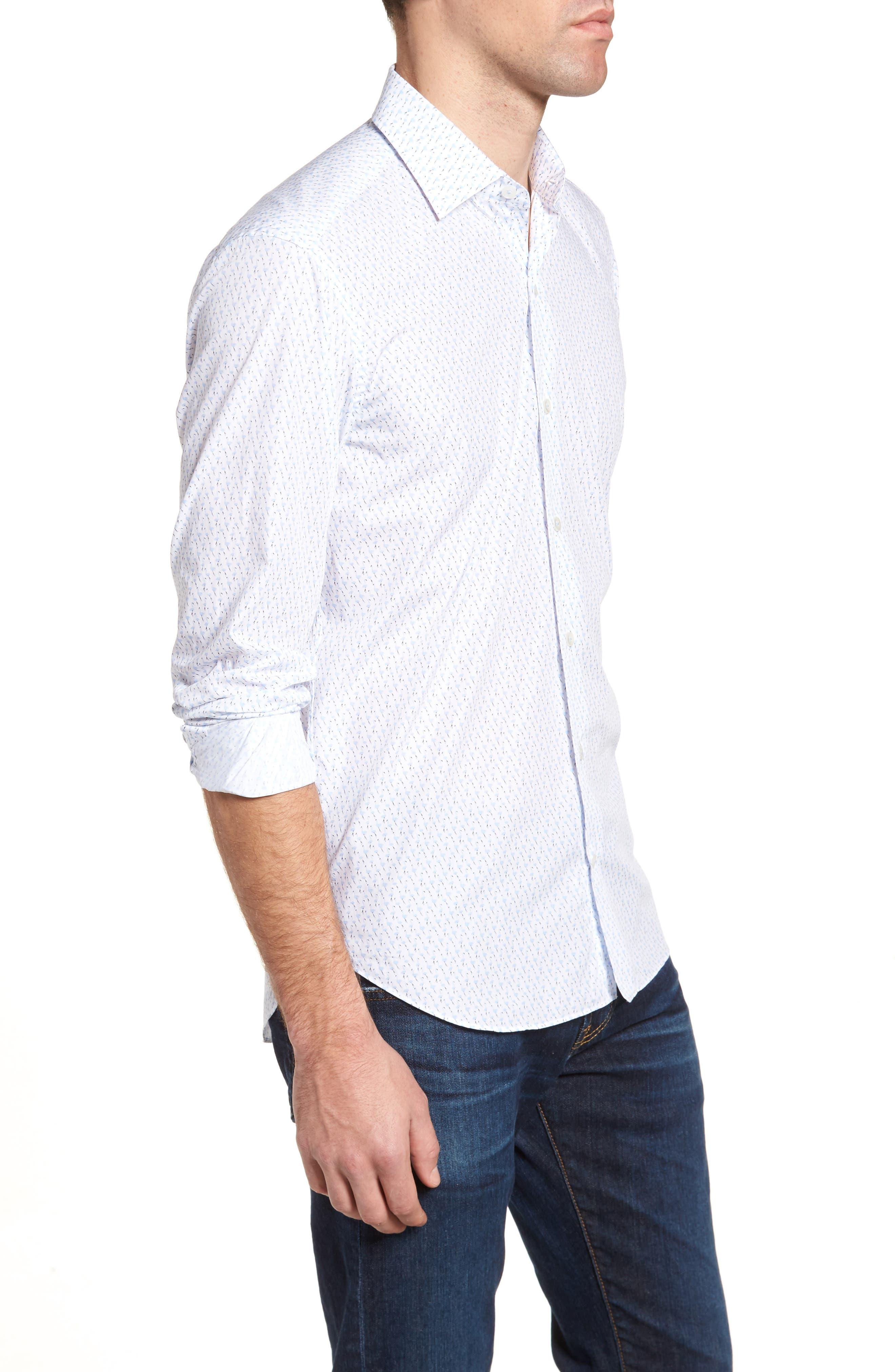 Tailored Fit Flamingo Print Sport Shirt,                             Alternate thumbnail 3, color,                             White