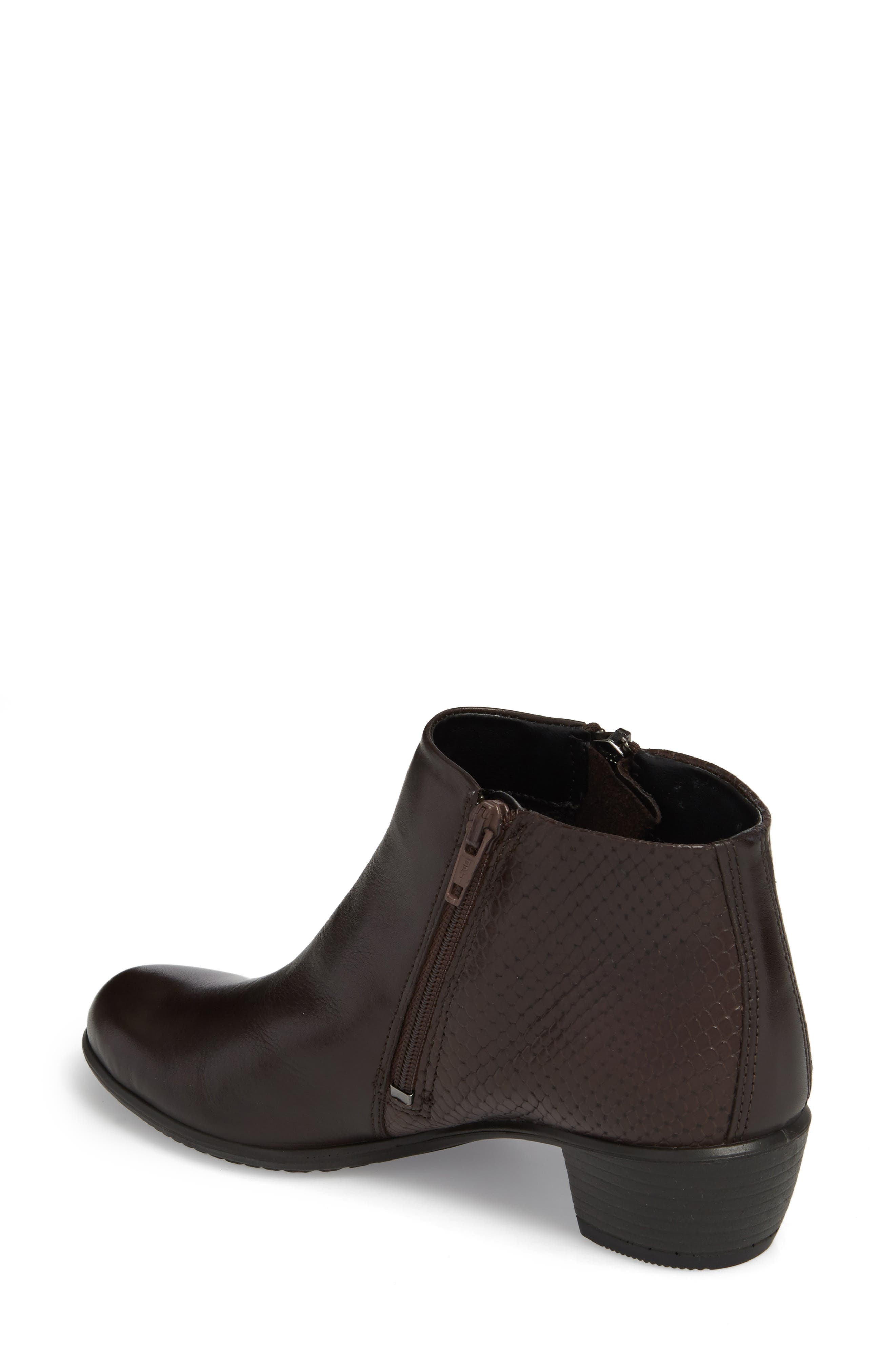 'Touch' Zip Bootie,                             Alternate thumbnail 2, color,                             Coffee Leather