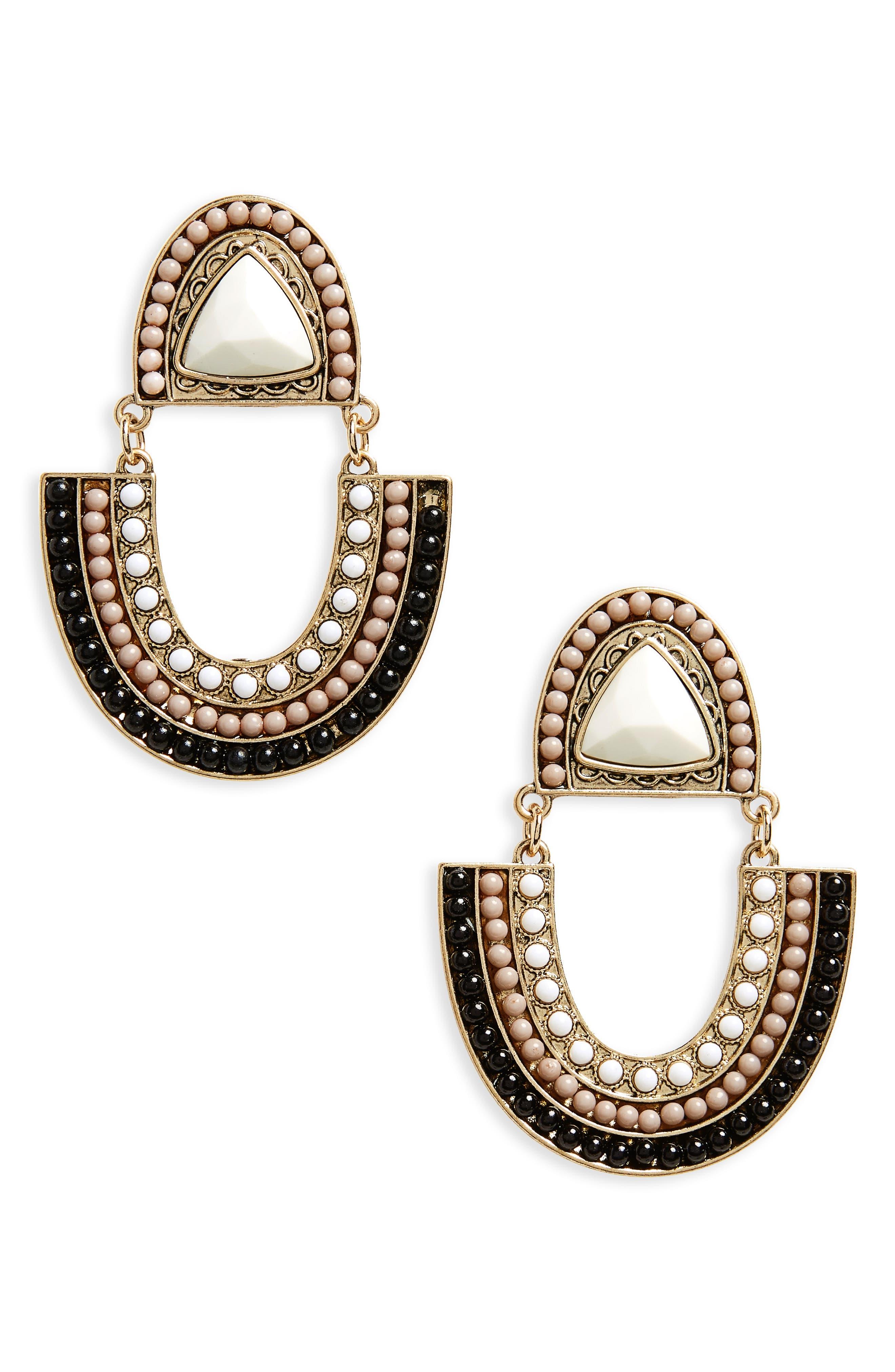 BP. Beaded Medallion Drop Earrings