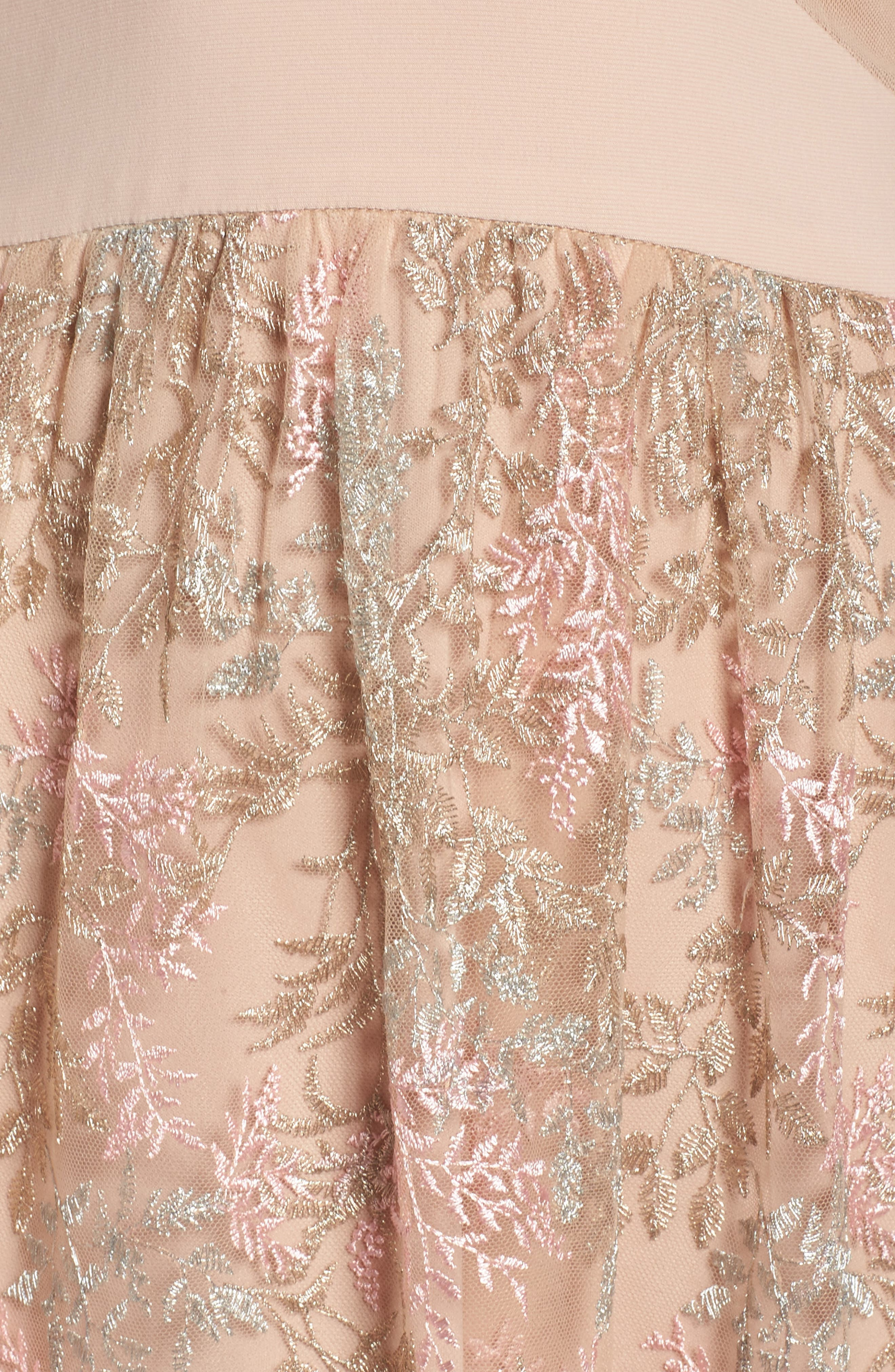 Mesh Inset Embroidered Gown,                             Alternate thumbnail 5, color,                             Blush/ Multi