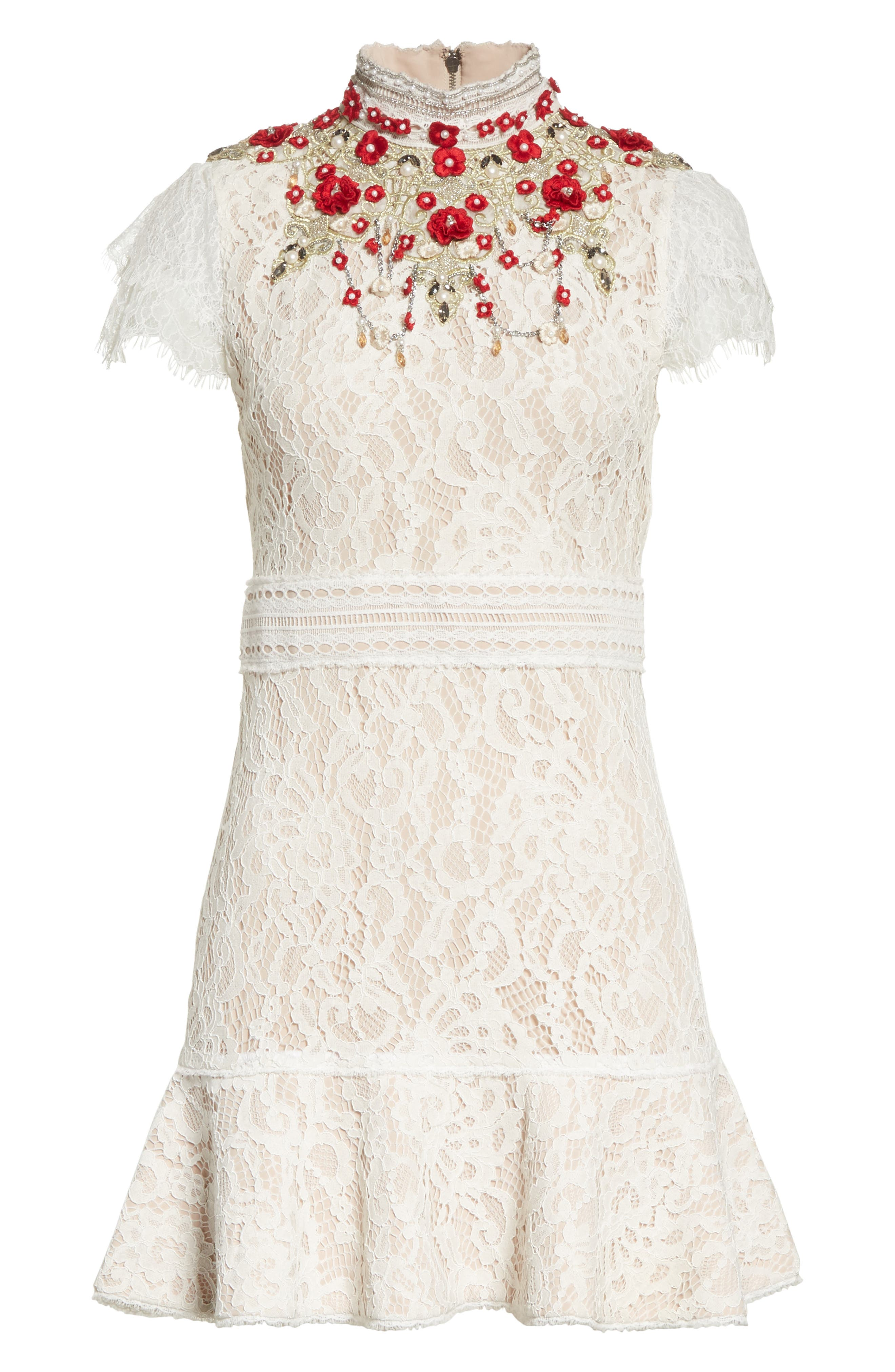 Francine Lace Fit & Flare Minidress,                             Alternate thumbnail 6, color,                             Cream/ Perfect Poppy