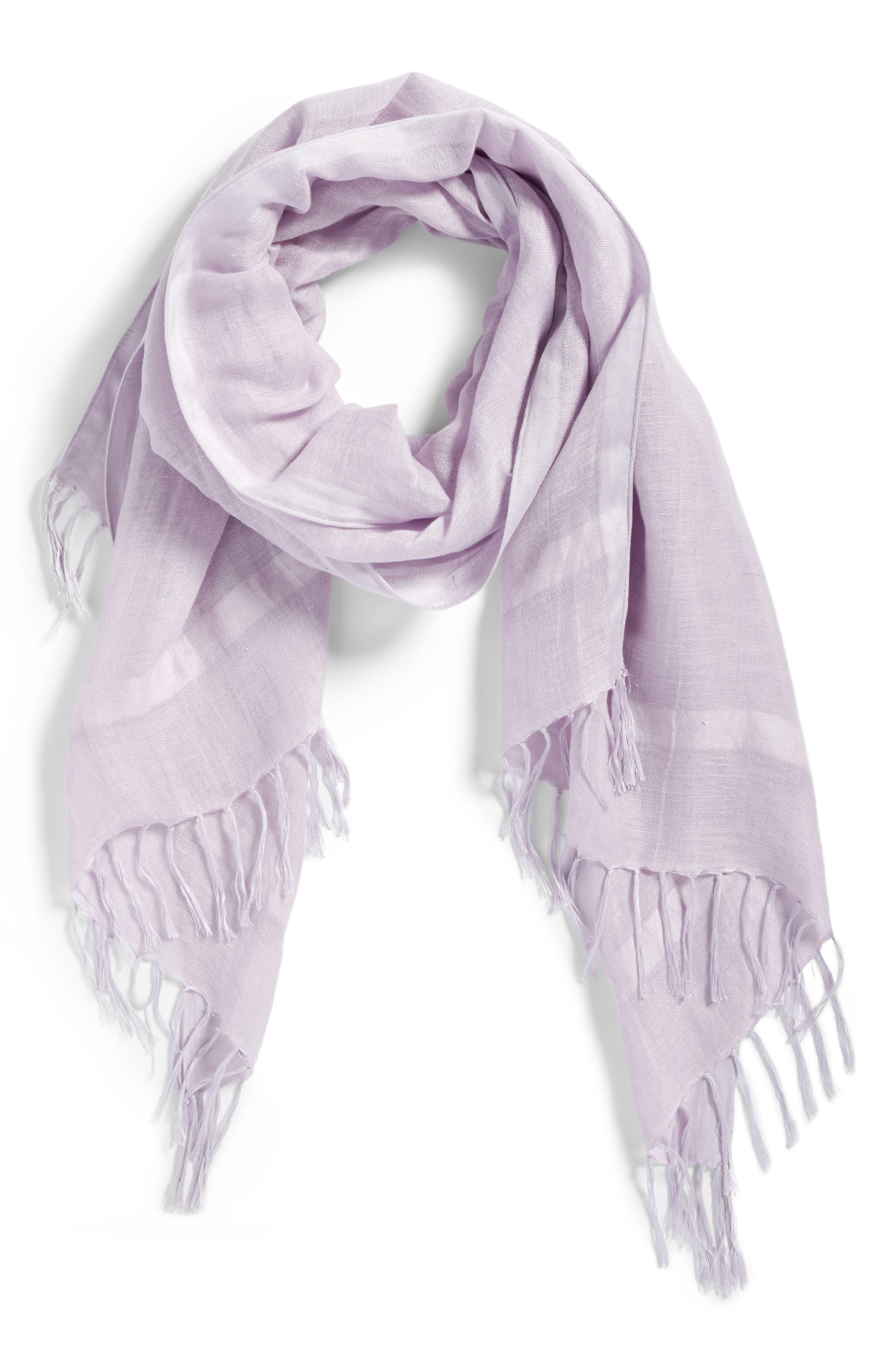 Linen Blend Scarf,                             Alternate thumbnail 2, color,                             Purple Petal
