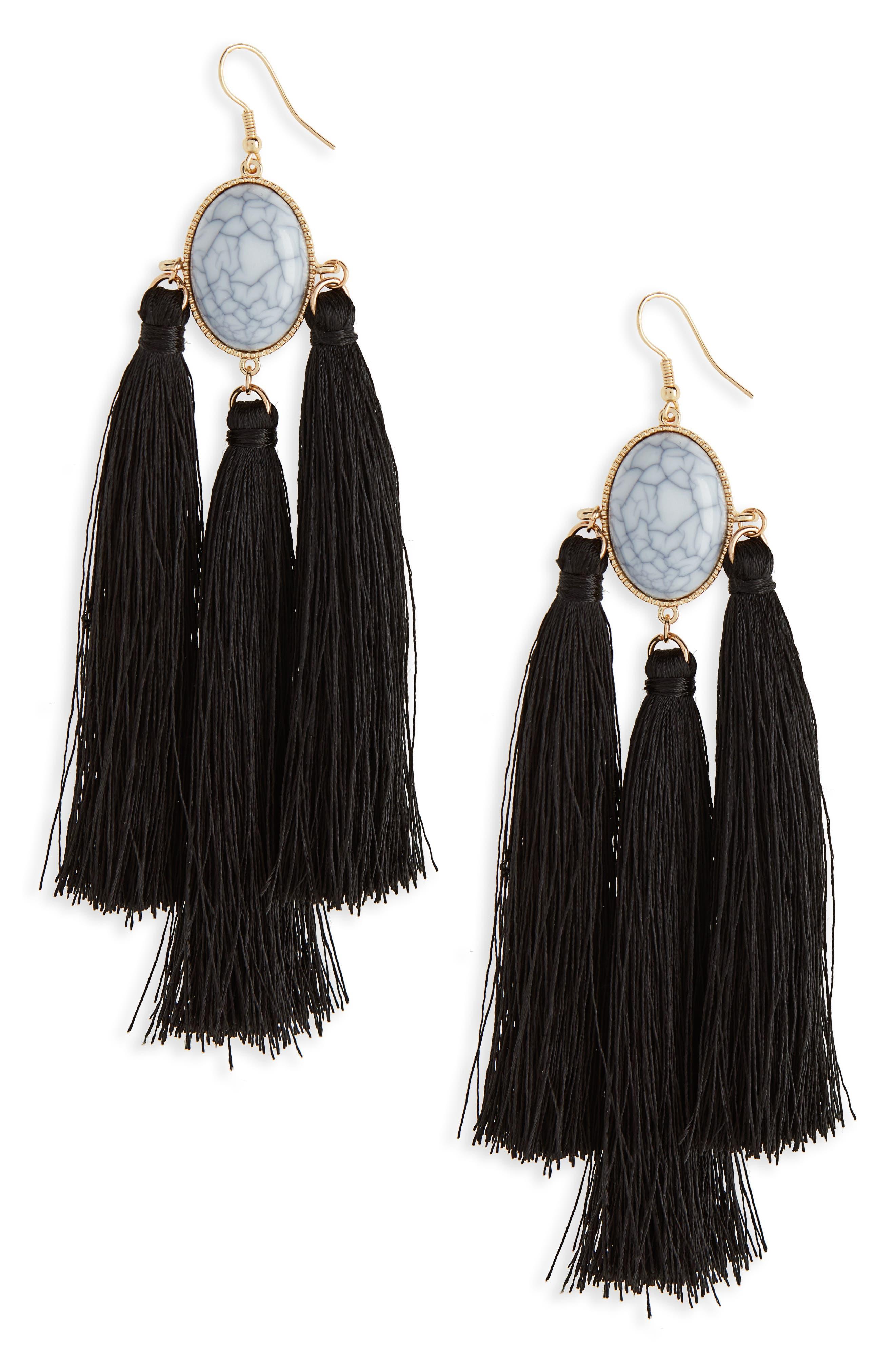Marbled Bead & Tassel Earrings,                             Main thumbnail 1, color,                             Marble/ Black