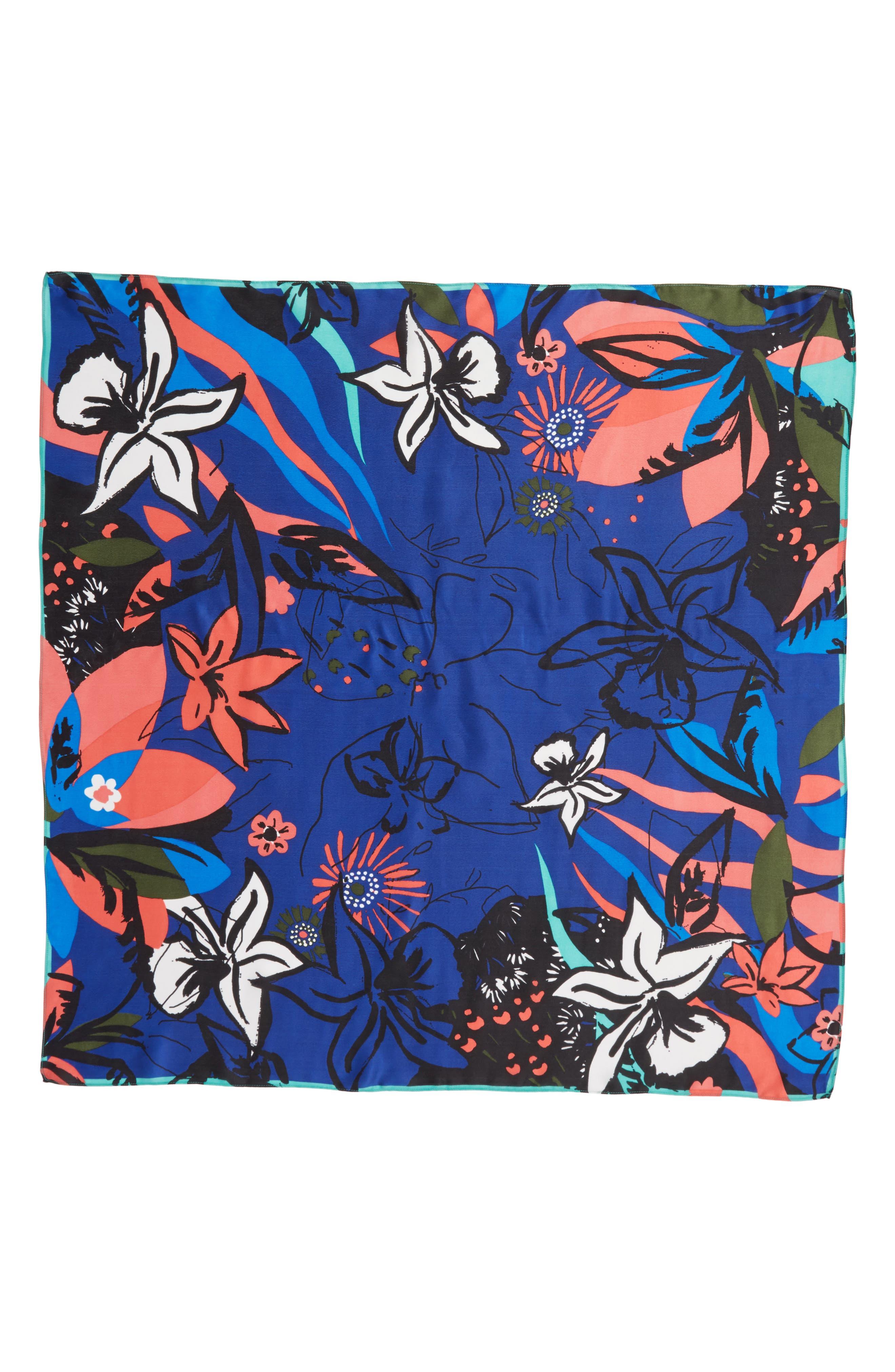 Print Silk Scarf,                             Alternate thumbnail 3, color,                             Blue Modern Status