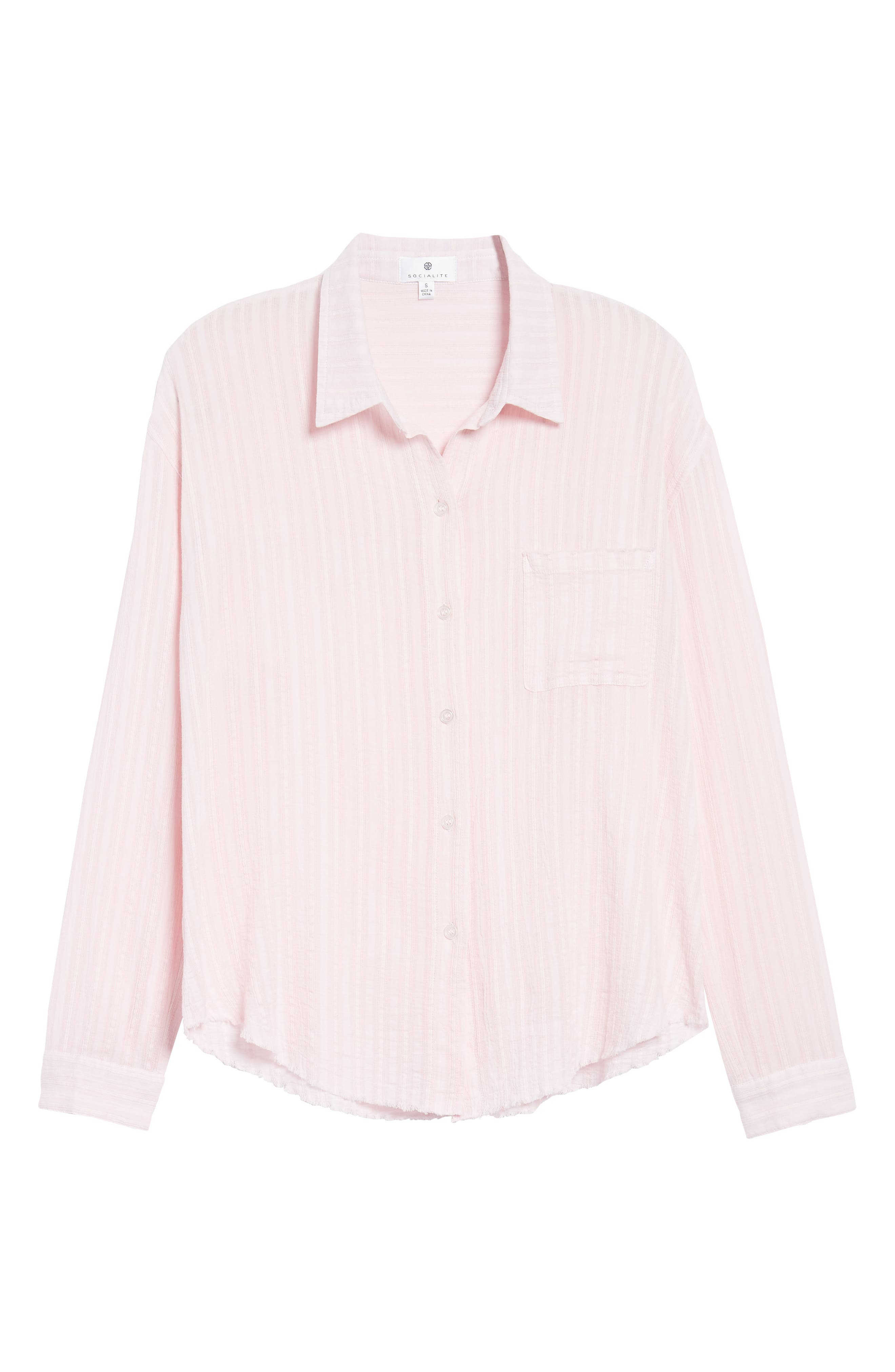 Raw Hem Shirt,                             Alternate thumbnail 6, color,                             Light Pink