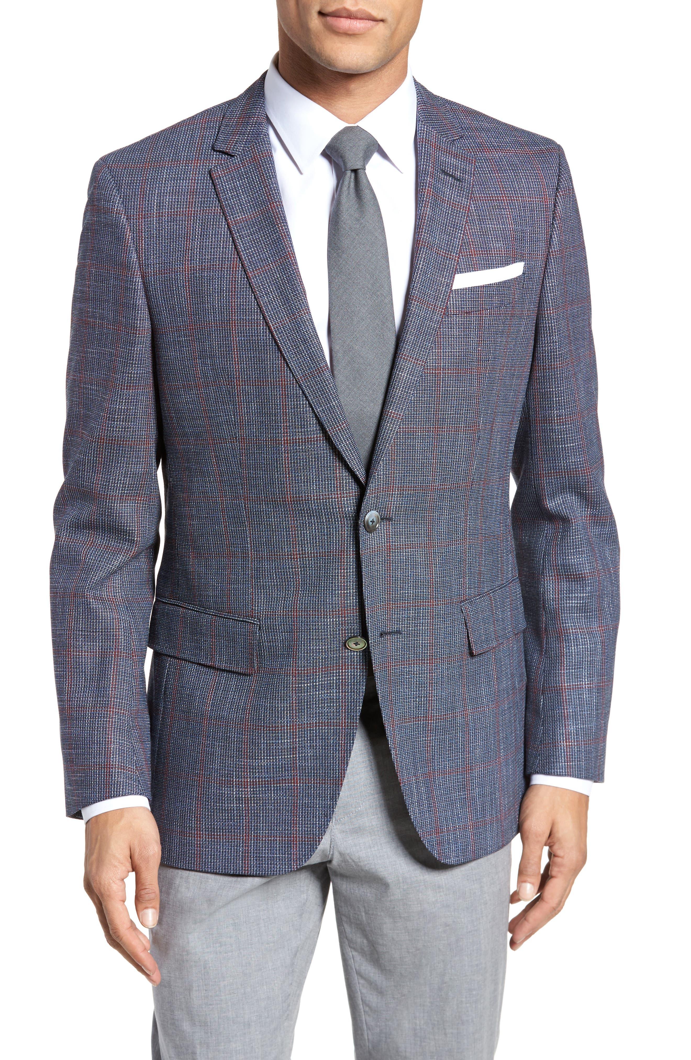 Hutsons Trim Fit Stretch Windowpane Wool Blend Sport Coat,                             Main thumbnail 1, color,                             Open Blue