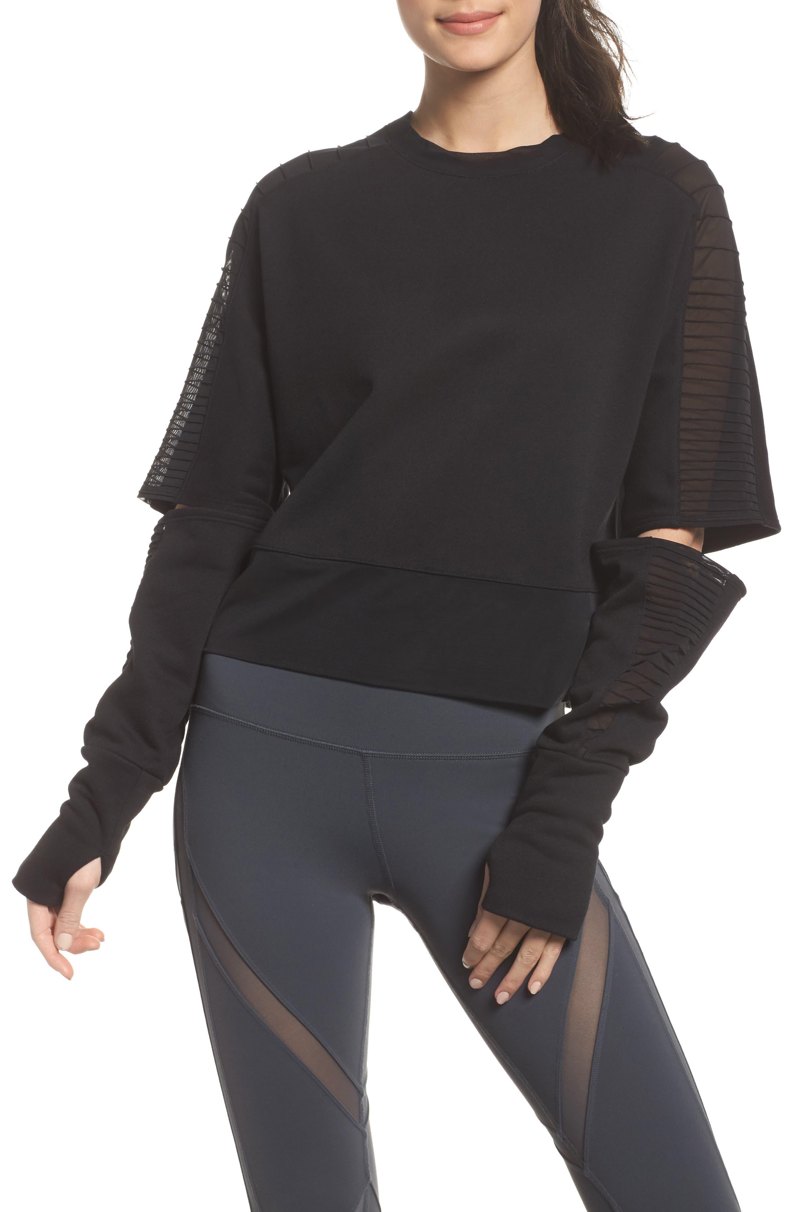 Cutout Sleeve Pullover Top,                             Main thumbnail 1, color,                             Black