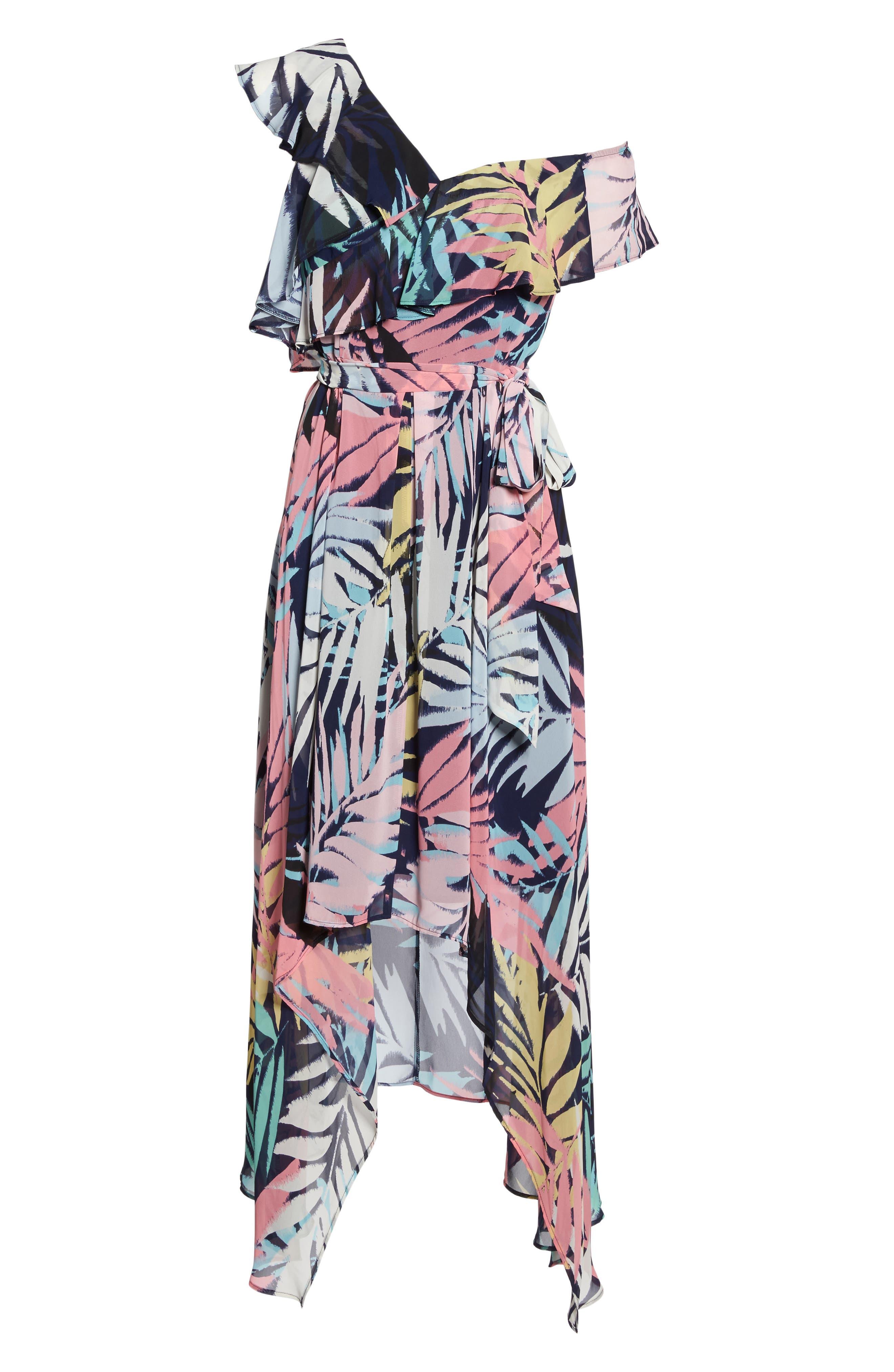 Asymmetrical Neck Maxi Dress,                             Alternate thumbnail 6, color,                             Navy Multi