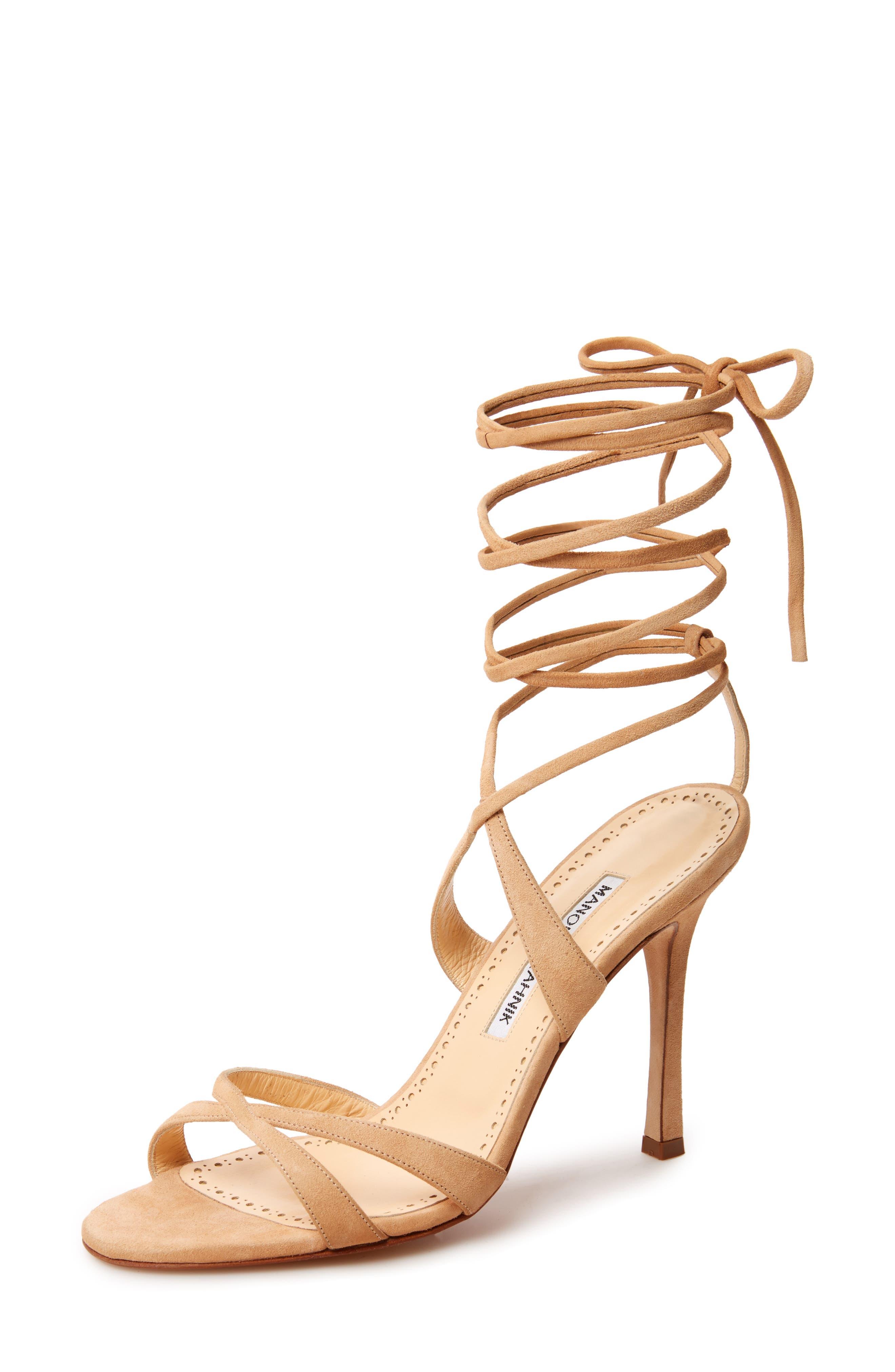 Criss Ankle Tie Sandal,                         Main,                         color, Light Camel