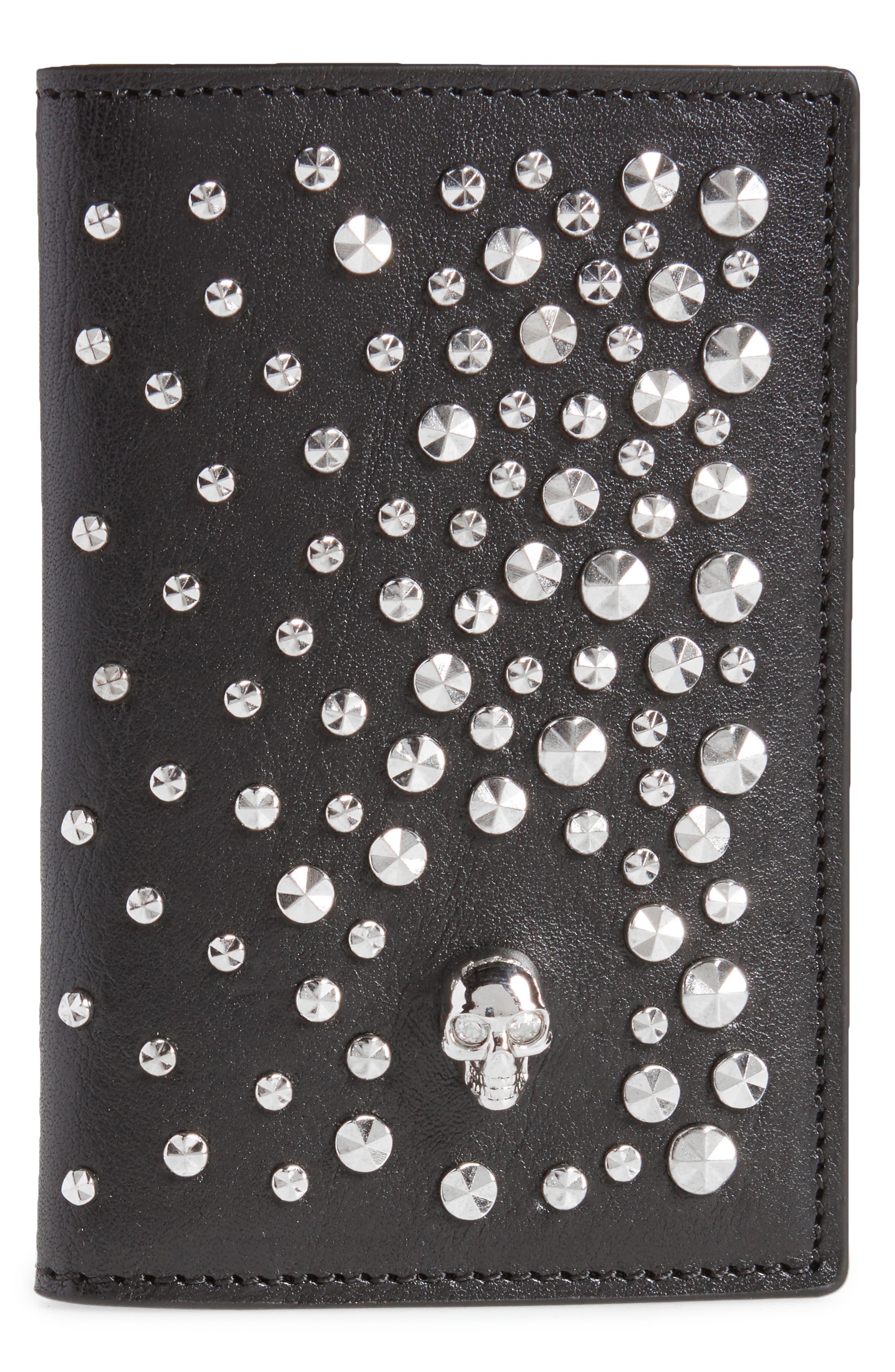 Alexander McQueen Studs & Skull Leather Card Case